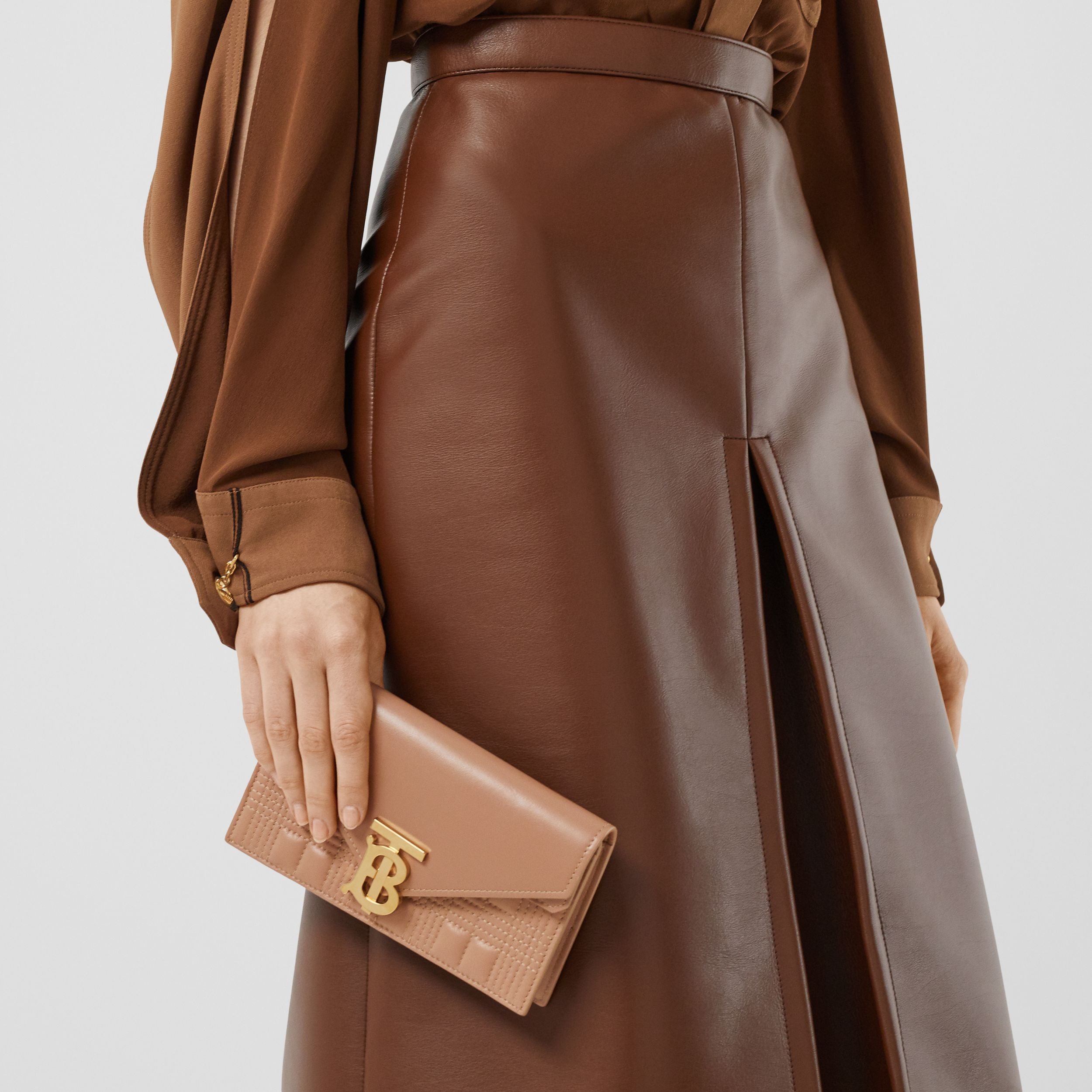 Belted Quilted Lambskin TB Envelope Clutch in Warm Camel - Women | Burberry United Kingdom - 3