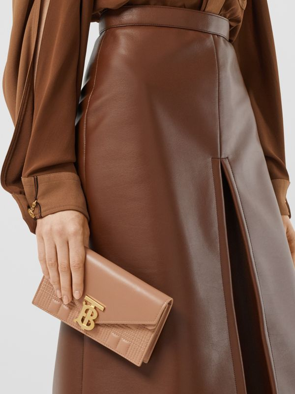 Belted Quilted Lambskin TB Envelope Clutch in Warm Camel - Women | Burberry Canada - cell image 2