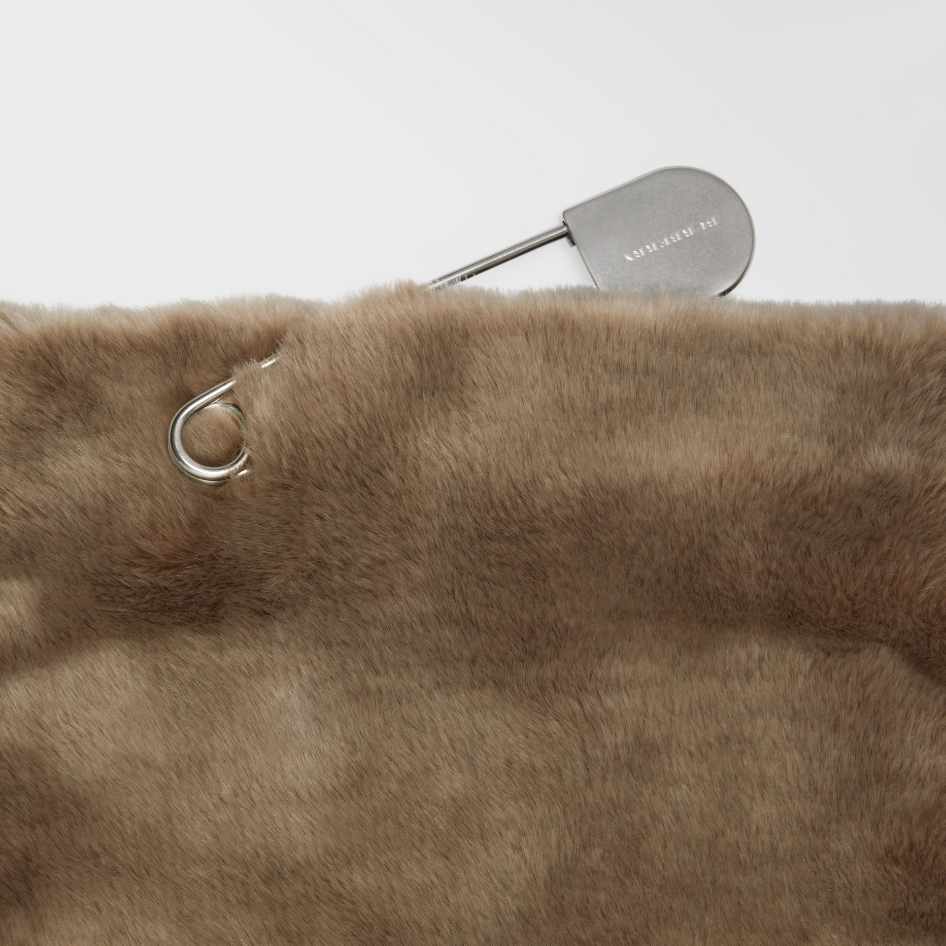 The Medium Pin Clutch in Faux Fur in Light Grey - Women | Burberry Hong Kong - gallery image 1