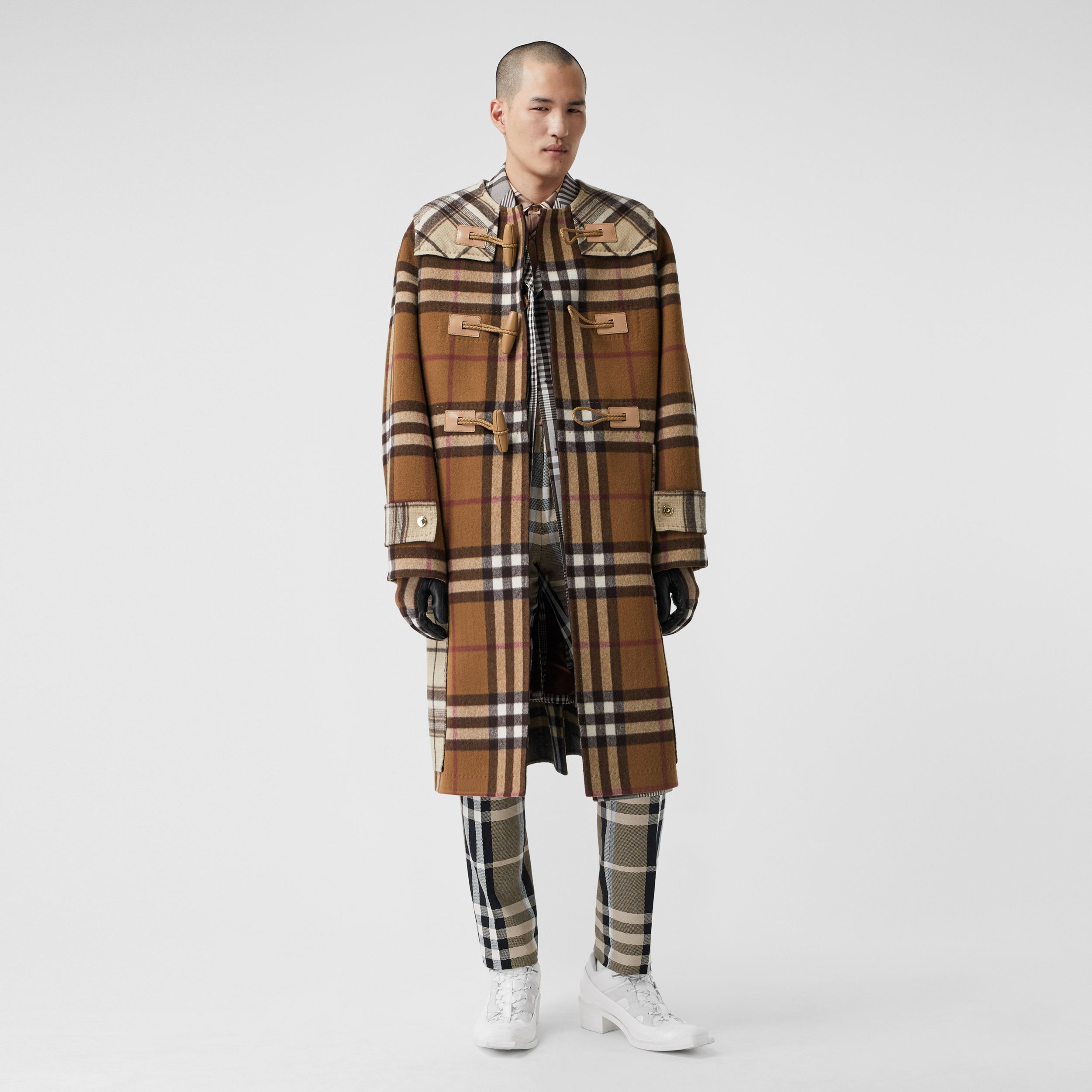 Double-faced Contrast Check Wool Duffle Coat in Birch Brown - Men | Burberry - 1