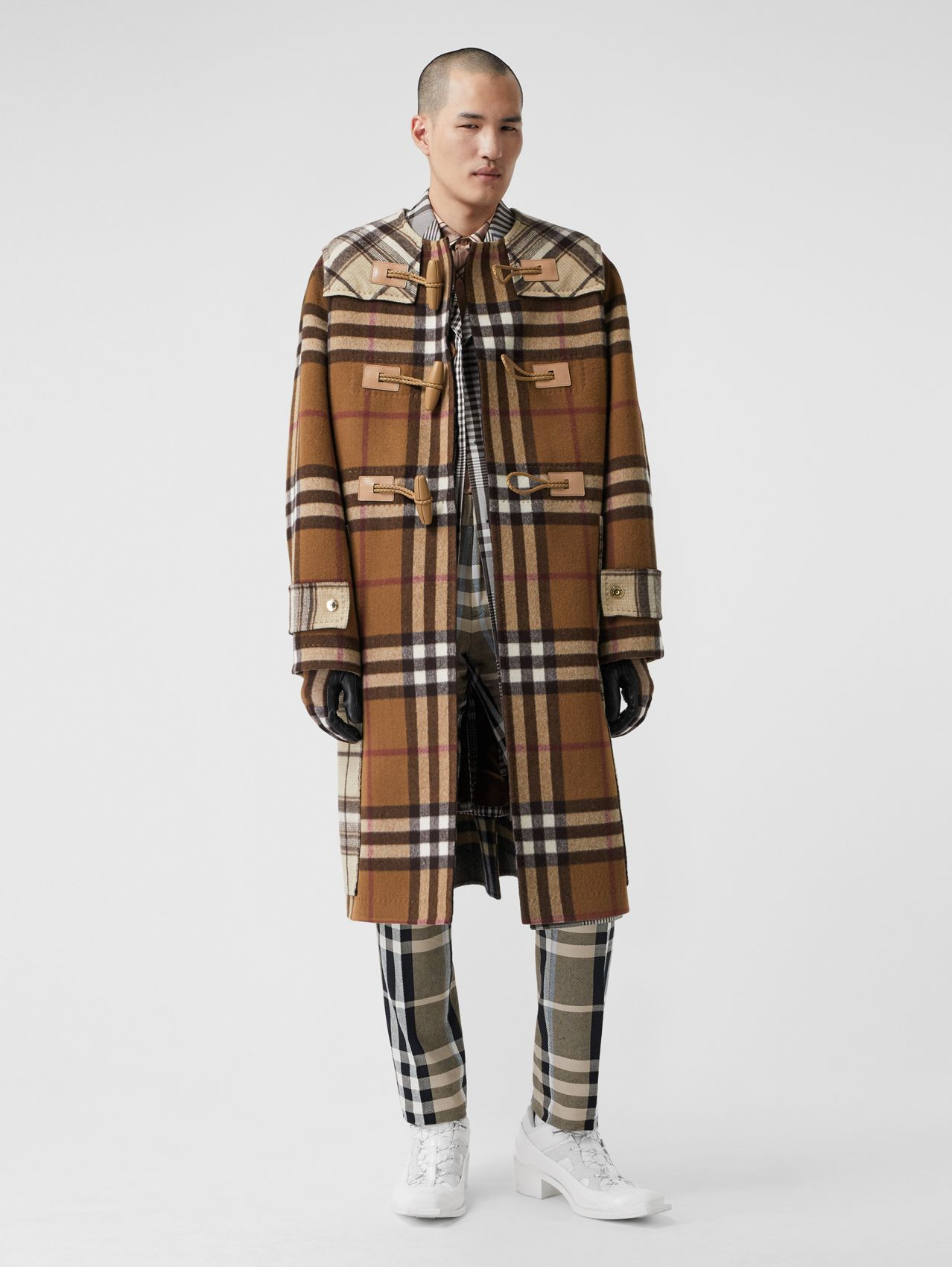 Duffle-coat en laine check double face (Bouleau Brun)
