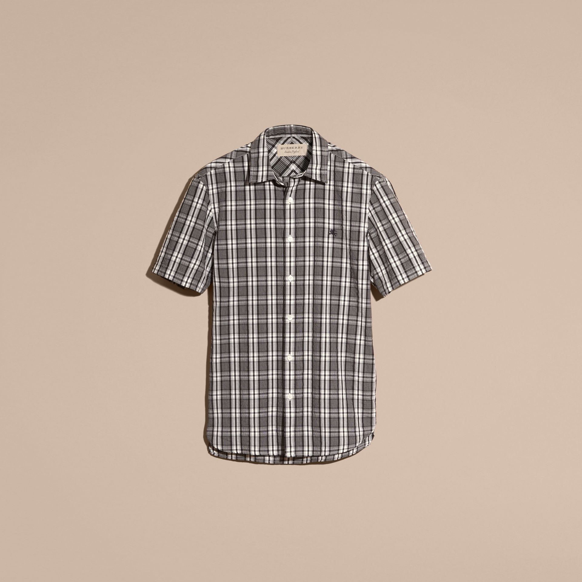 Short-sleeved Check Cotton Poplin Shirt - gallery image 4
