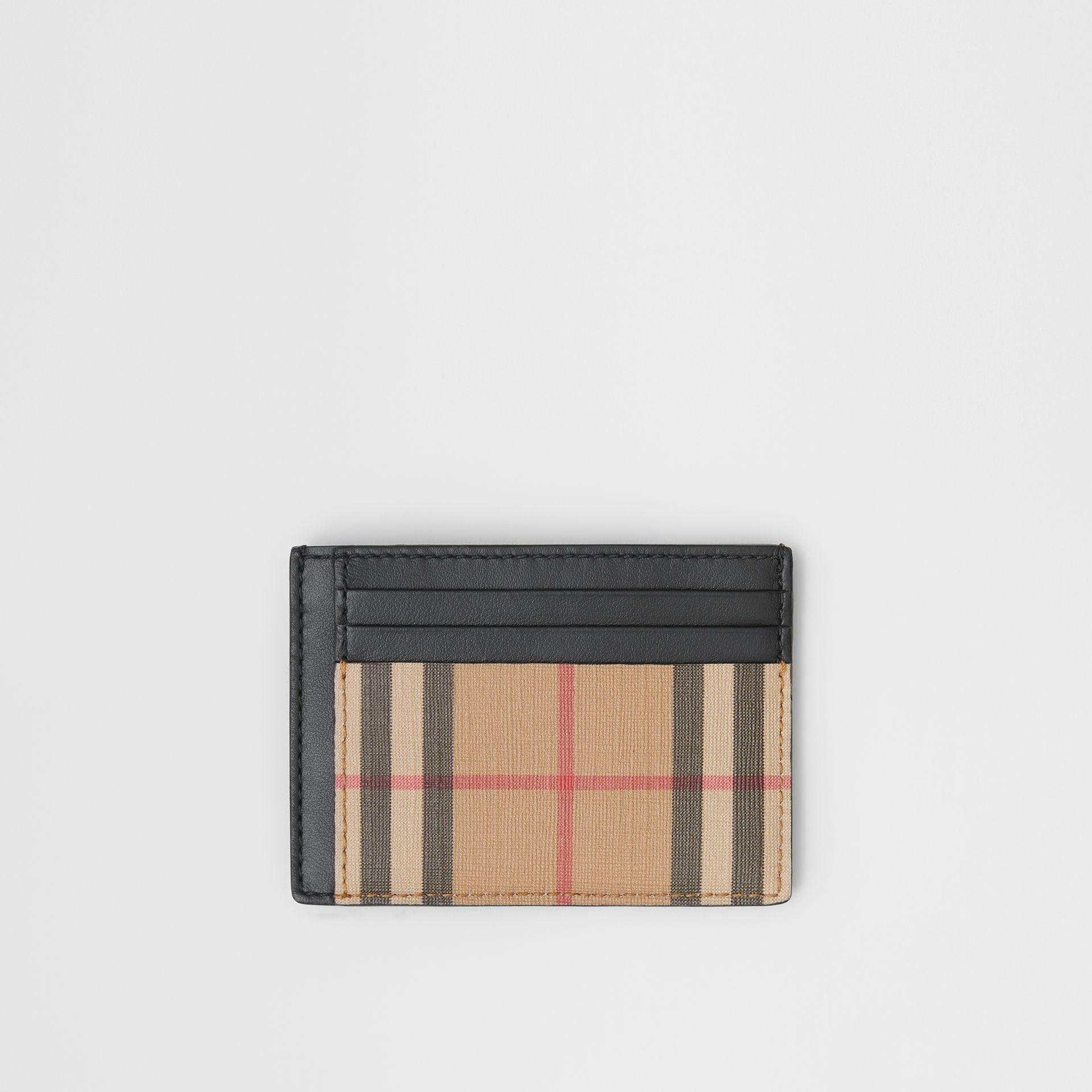 Vintage Check and Leather Money Clip Card Case in Archive Beige - Men | Burberry Australia - gallery image 0