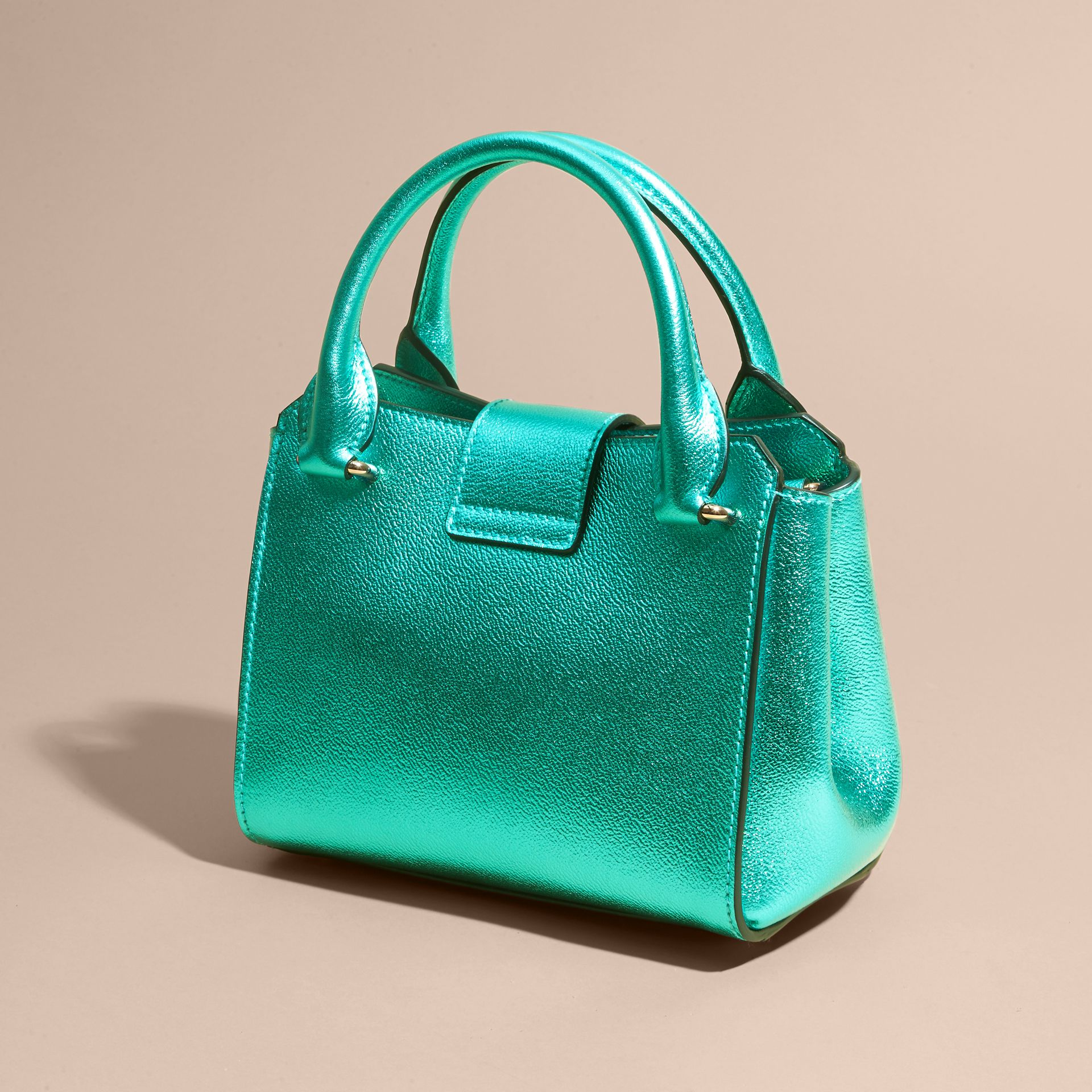 The Small Buckle Tote in Metallic Leather Emerald - gallery image 7