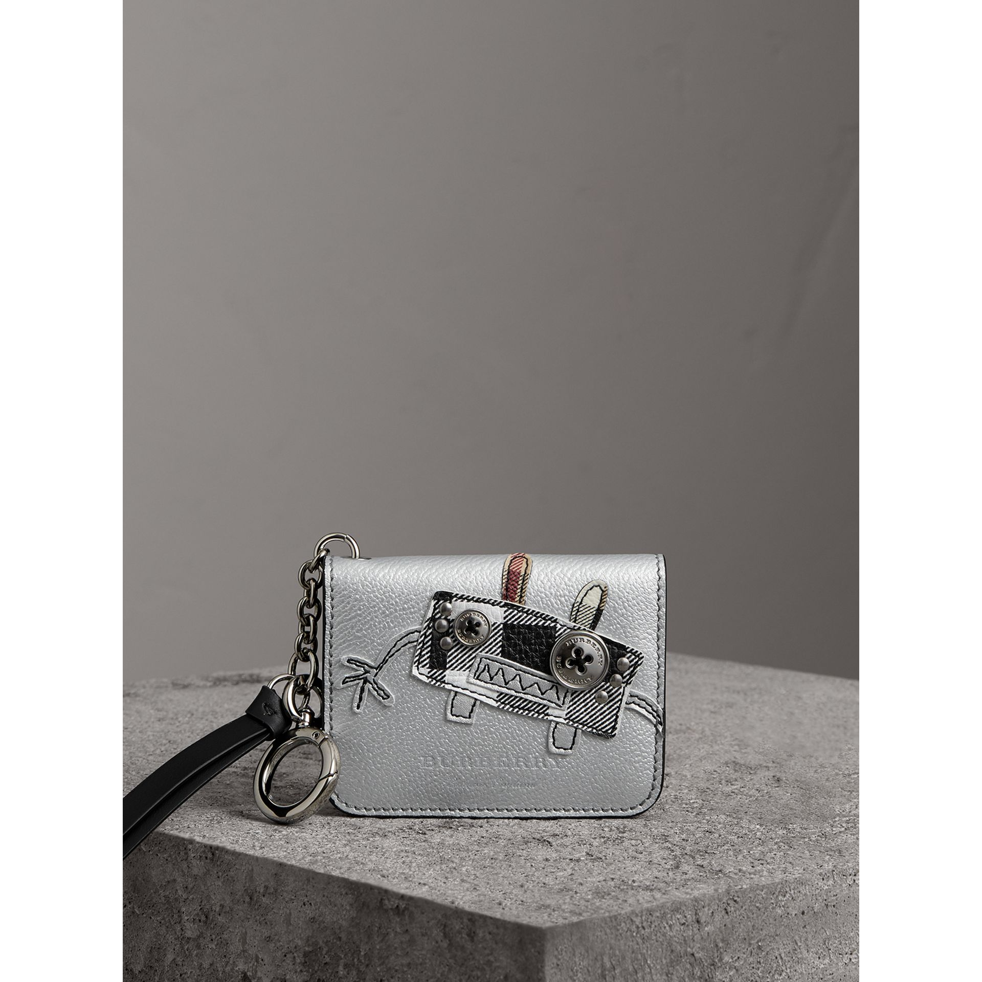 Creature Motif Metallic Leather ID Card Case Charm in Silver/multicolour - Women | Burberry - gallery image 4