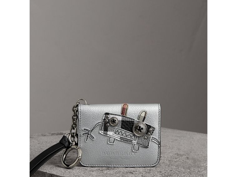 Creature Motif Metallic Leather ID Card Case Charm in Silver/multicolour - Women | Burberry - cell image 4