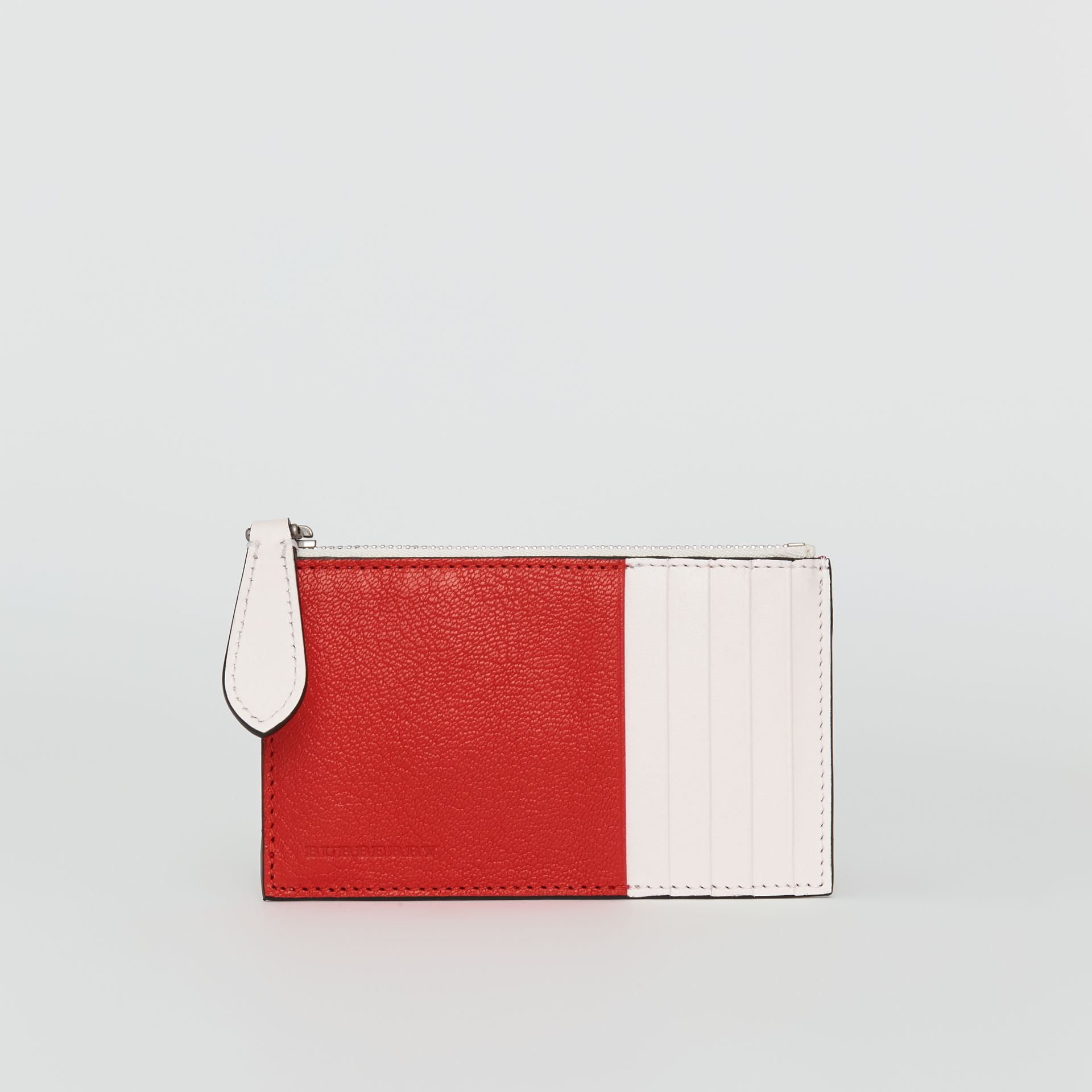 Two-tone Leather Zip Card Case in Bright Red | Burberry United States - gallery image 2