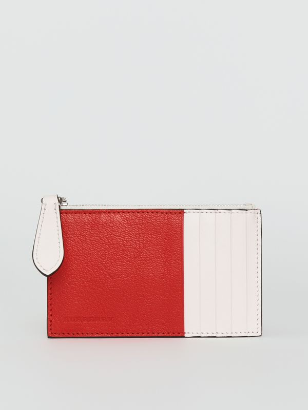Two-tone Leather Zip Card Case in Bright Red | Burberry United States - cell image 2