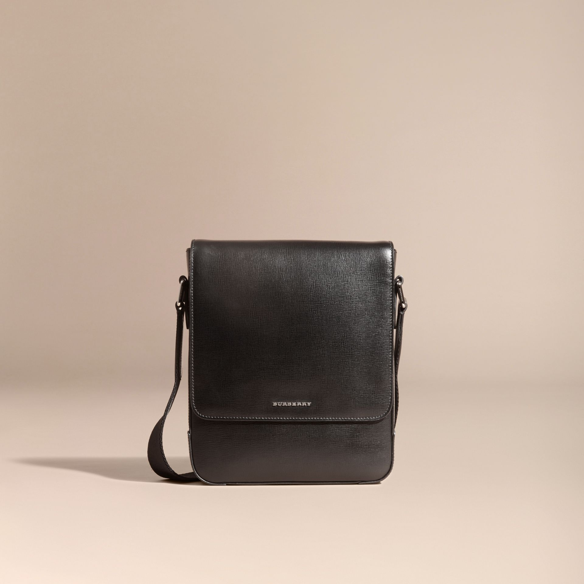 London Leather Crossbody Bag in Black - gallery image 8