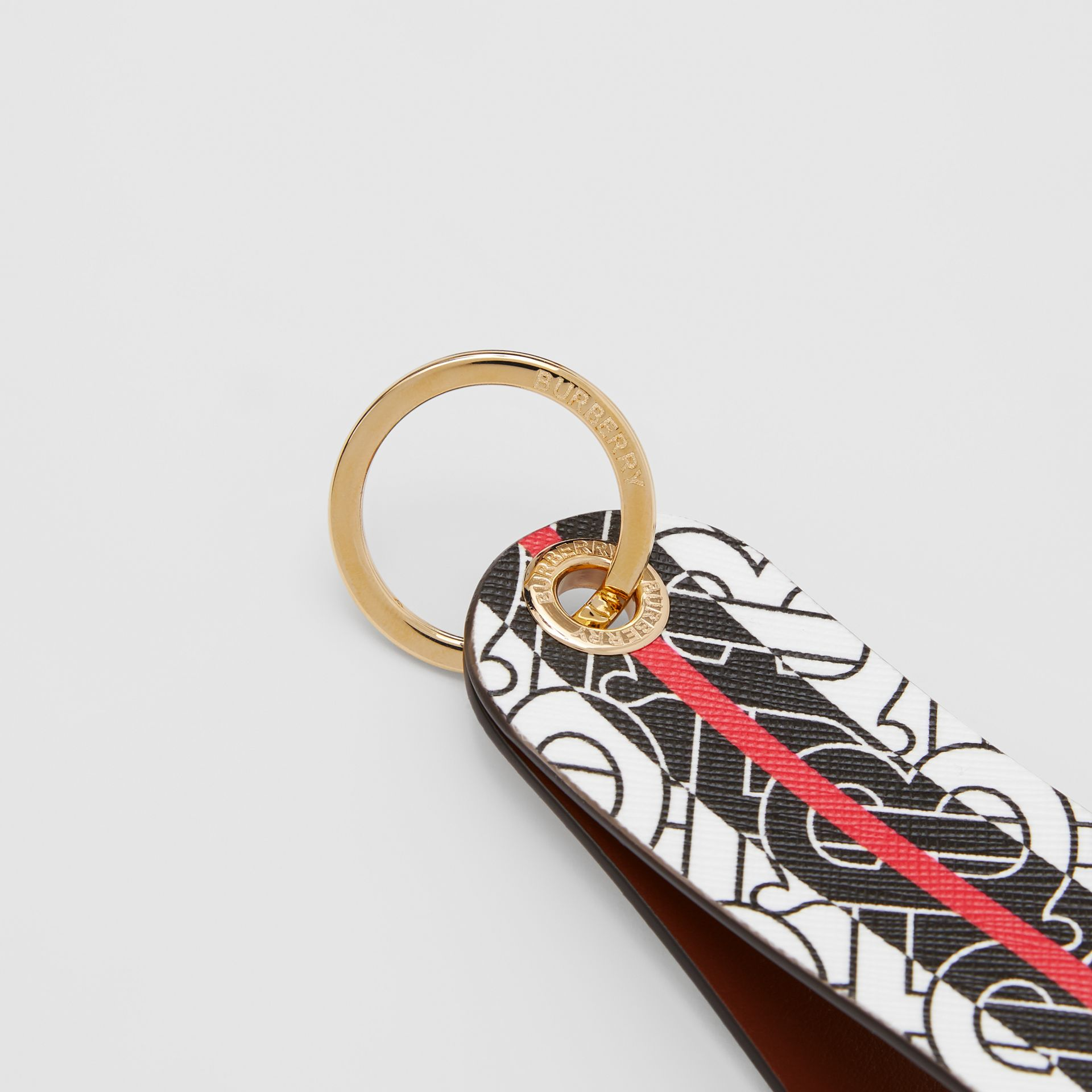 Monogram Stripe E-canvas and Leather Key Ring in Bridle Brown | Burberry - gallery image 1