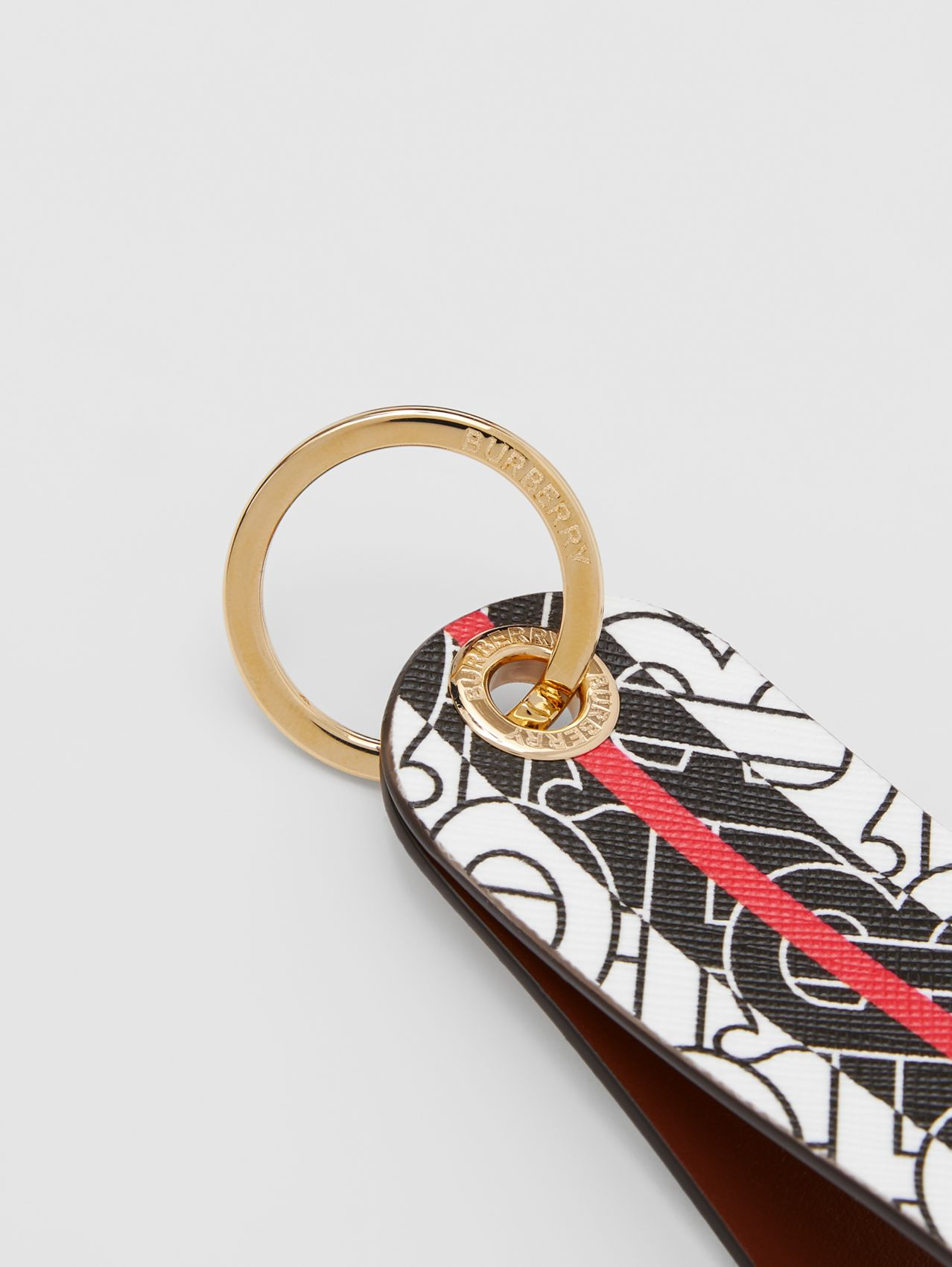 Monogram Stripe E-canvas and Leather Key Ring in Bridle Brown