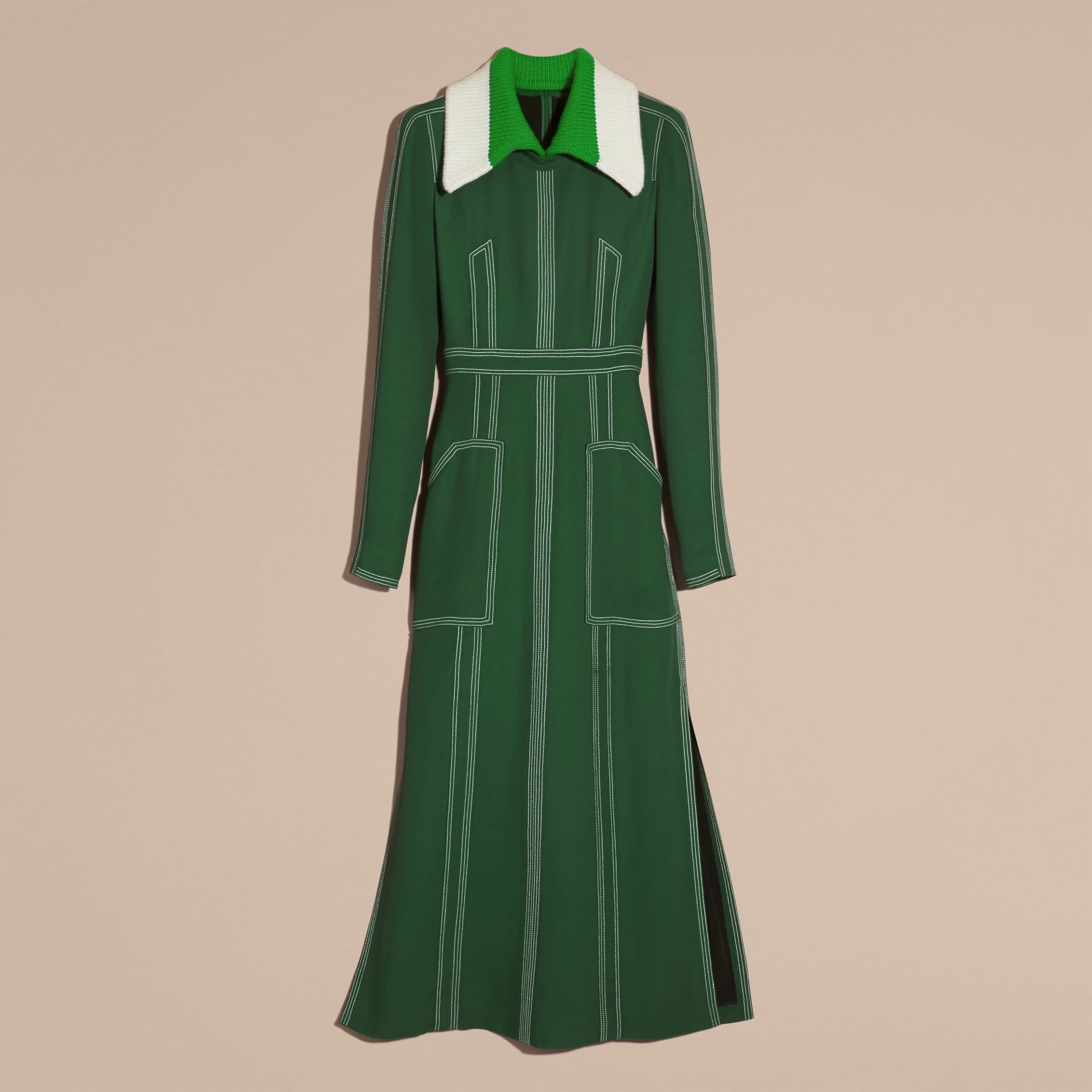 Deep green Topstitch Detail Georgette Dress with Knitted Collar - gallery image 4