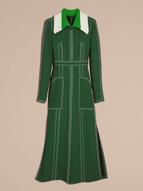 Deep green Topstitch Detail Georgette Dress with Knitted Collar - cell image 3