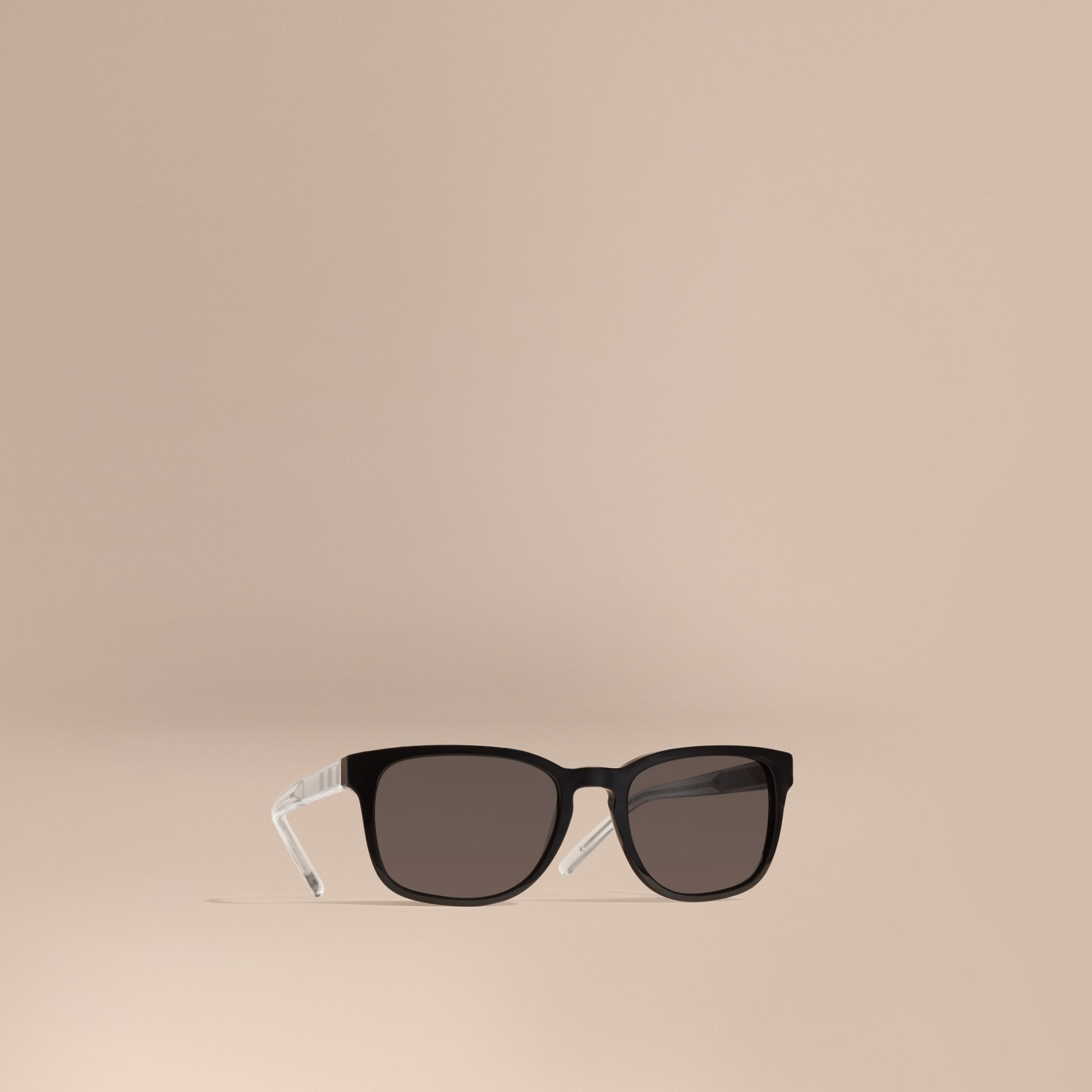 Check Detail Square Frame Sunglasses Black - gallery image 1