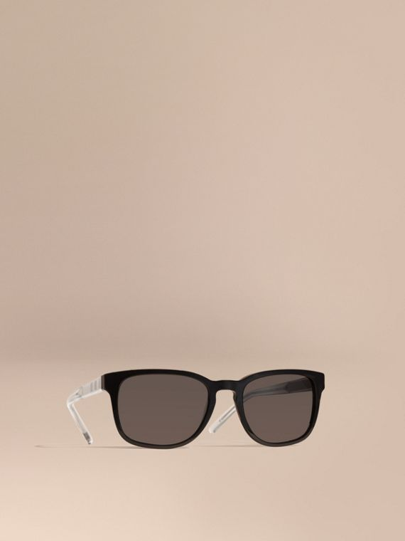 Check Detail Square Frame Sunglasses Black
