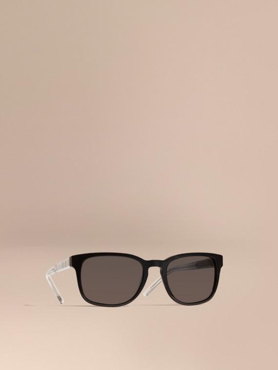 Sonnenbrille mit eckigem Gestell und Karodetail Schwarz
