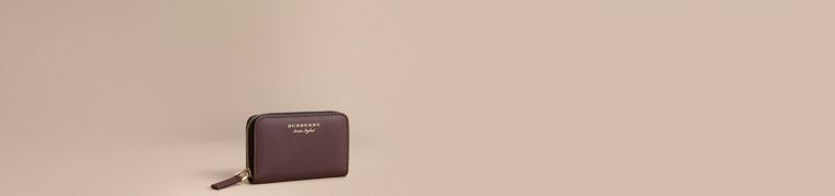 Trench Leather Ziparound Coin Case in Wine - Men | Burberry Australia - cell image 4
