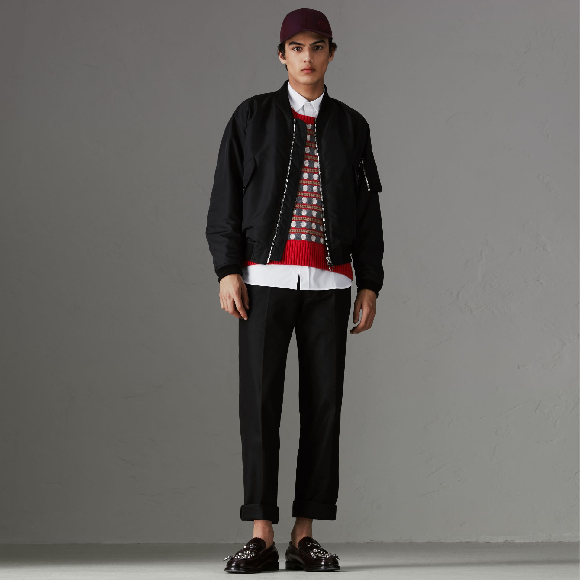 Nylon Bomber Jacket in Black | Burberry - gallery image 0