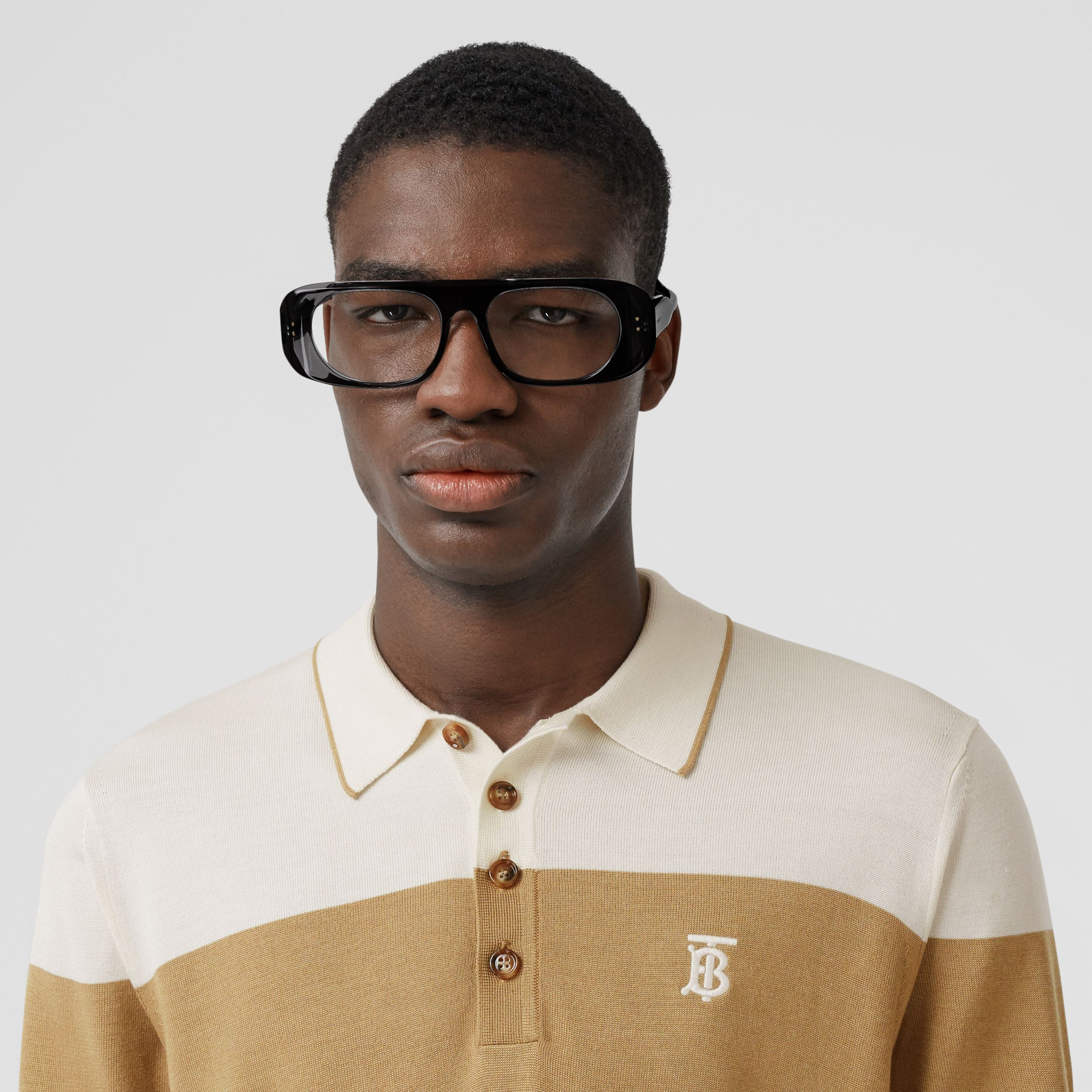 Monogram Motif Two-tone Silk Cashmere Polo Shirt in Archive Beige - Men | Burberry - 2
