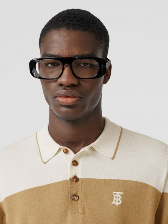Monogram Motif Two-tone Silk Cashmere Polo Shirt in Archive Beige - Men | Burberry - cell image 1