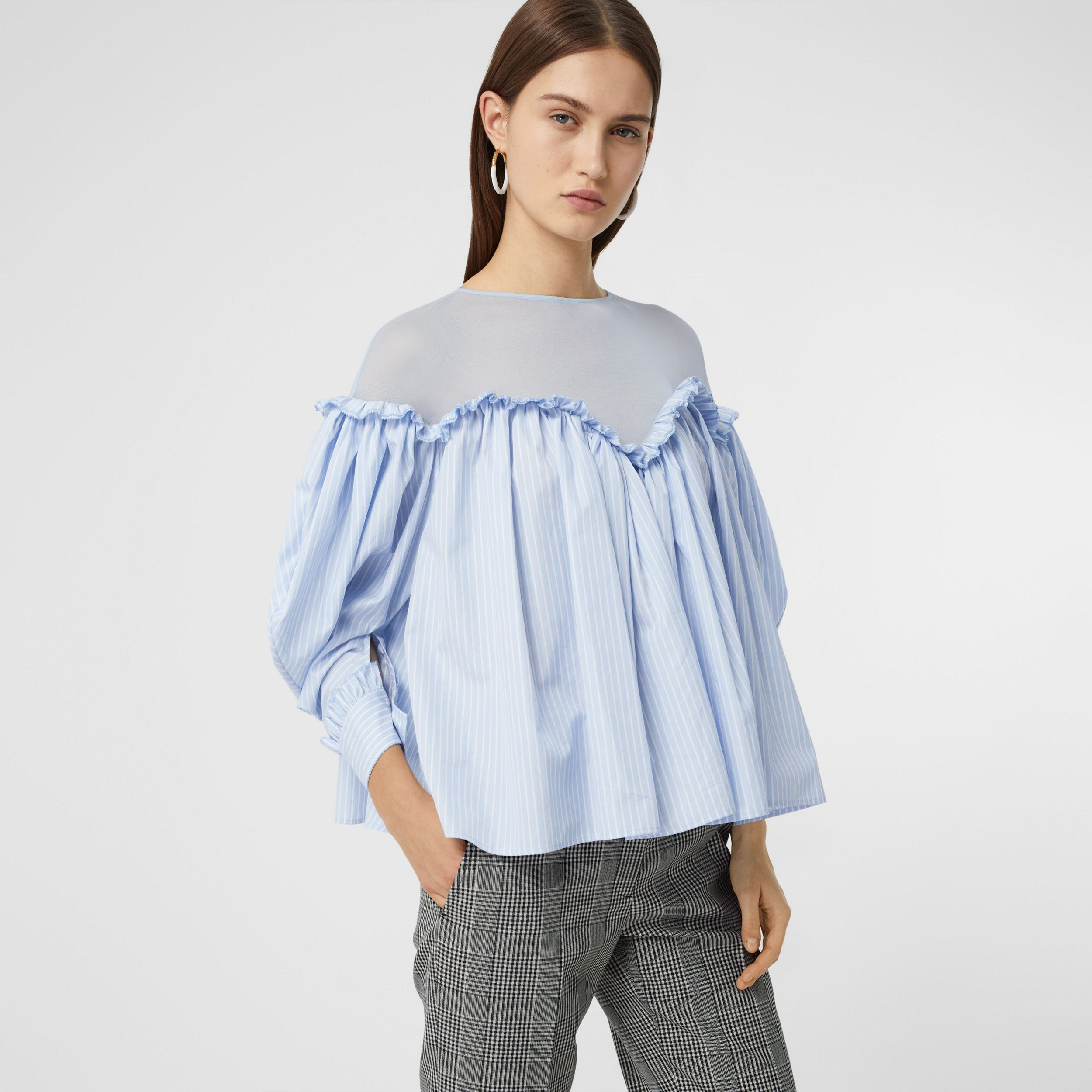 Puff-sleeve Striped Cotton and Jersey Blouse in Pale Blue - Women | Burberry - 1
