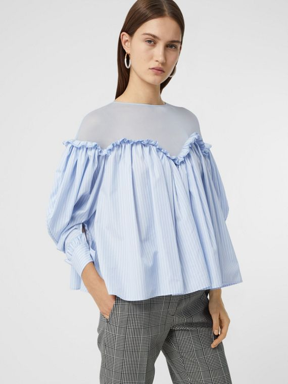 Puff-sleeve Striped Cotton and Jersey Blouse in Pale Blue