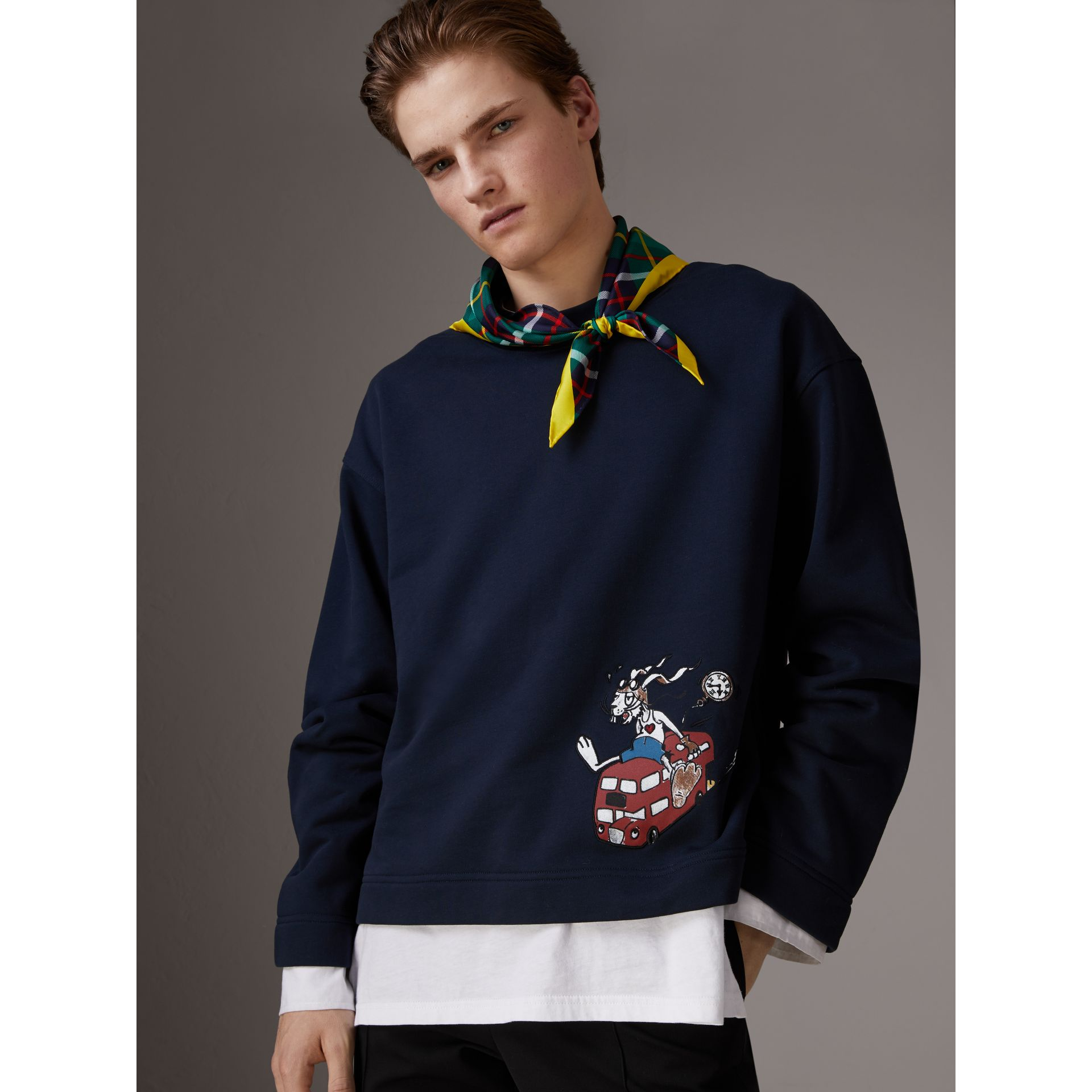 Sketch Print Cotton Jersey Sweatshirt in Navy - Men | Burberry Australia - gallery image 4