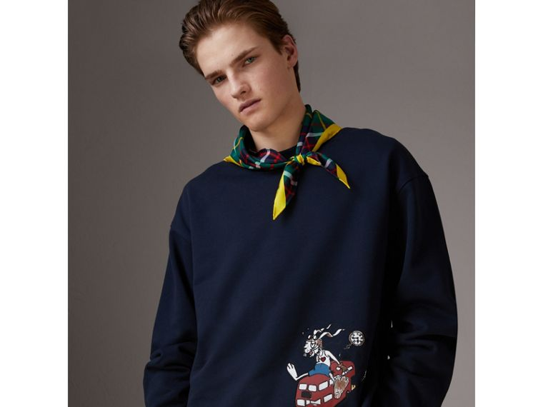 Sketch Print Cotton Jersey Sweatshirt in Navy - Men | Burberry - cell image 4