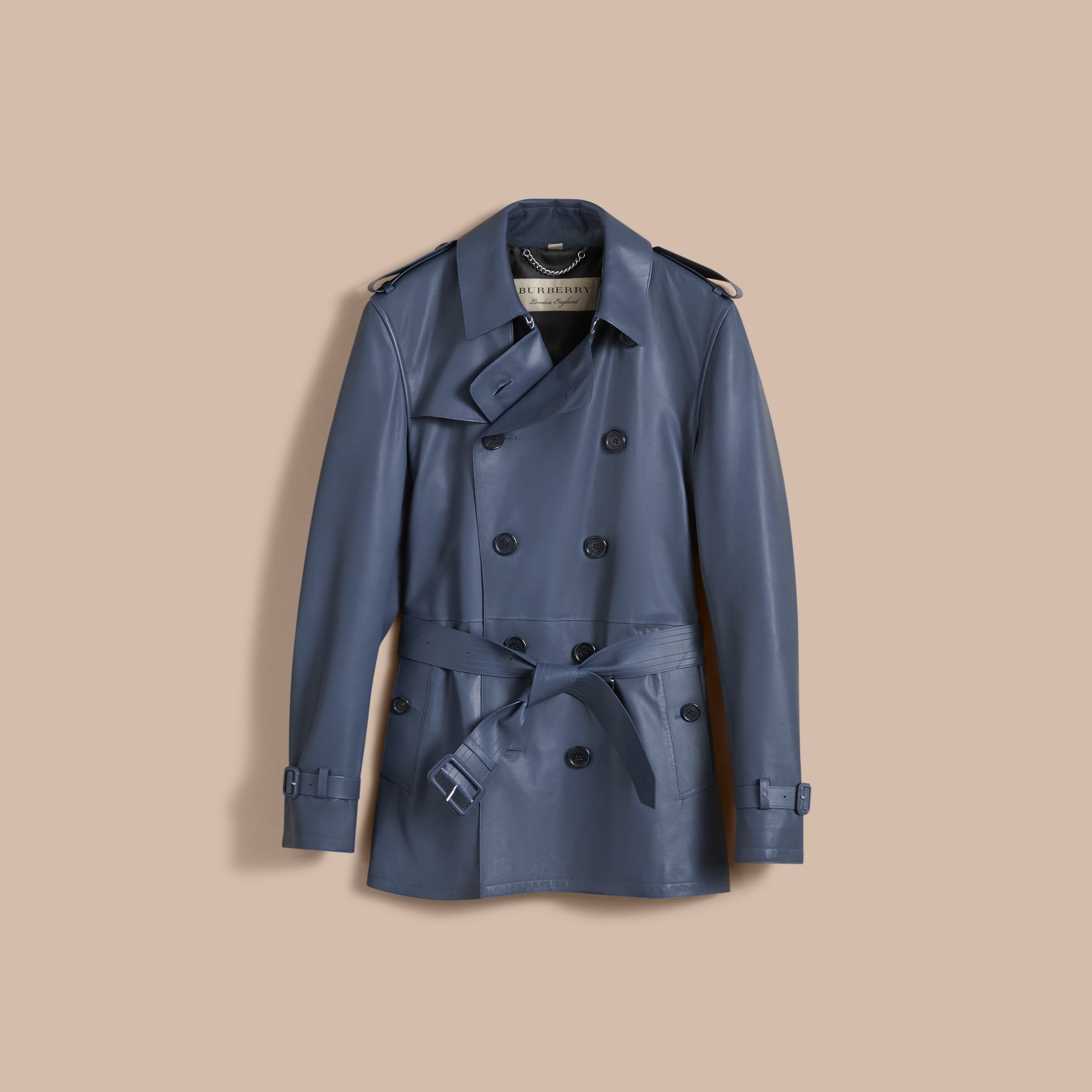 Short Leather Trench Coat - gallery image 4
