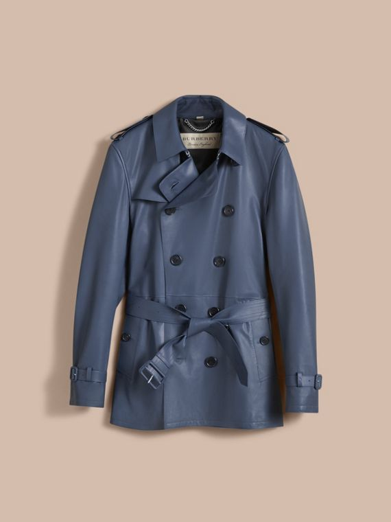 Short Leather Trench Coat - cell image 3