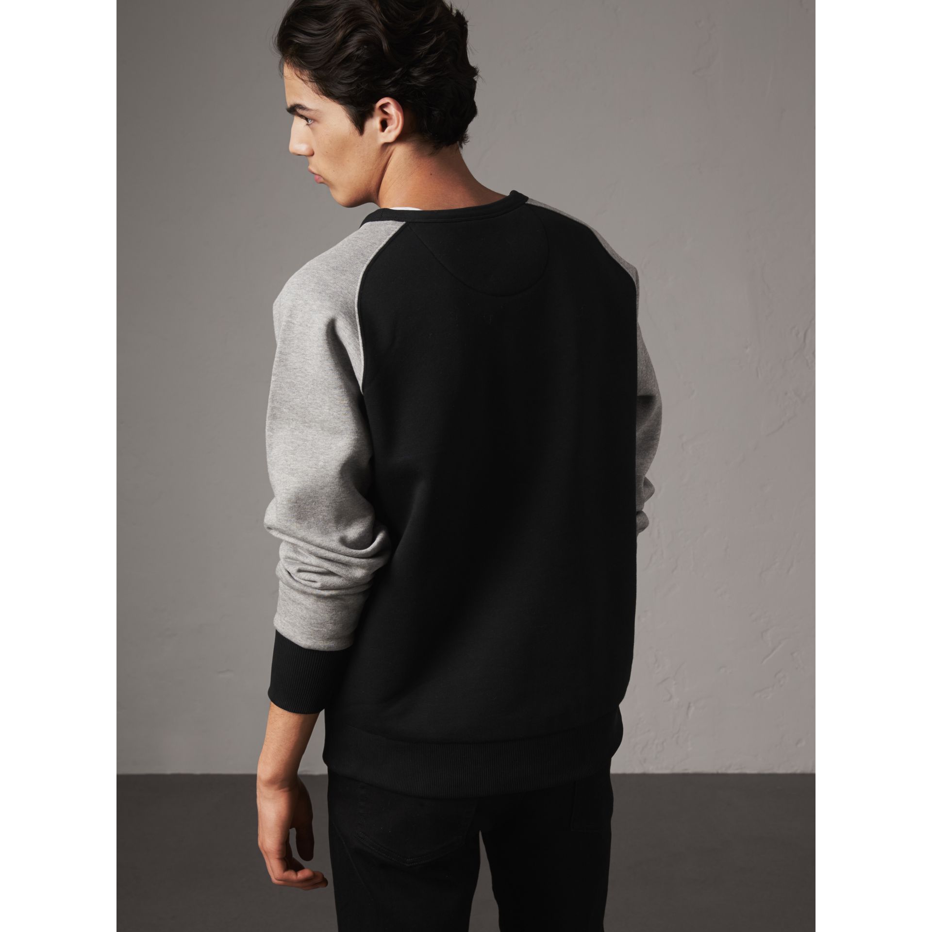 Two-tone Cotton Blend Sweatshirt in Black - Men | Burberry - gallery image 3