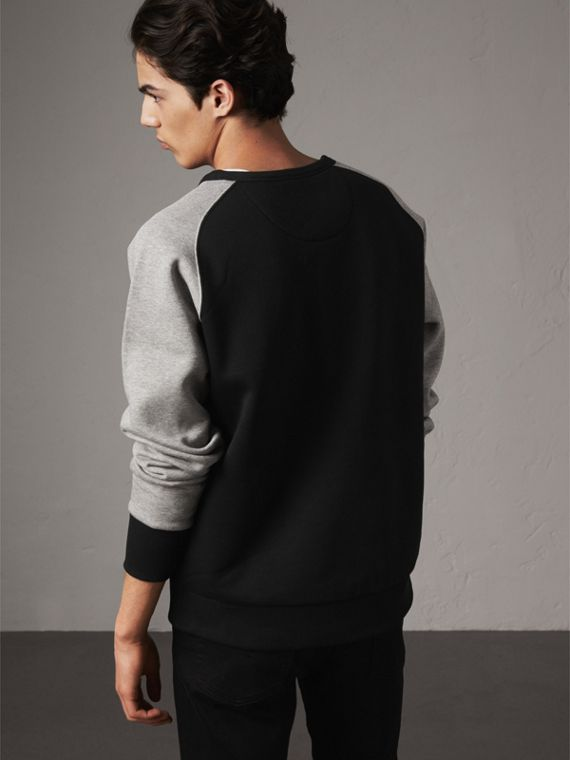 Two-tone Cotton Blend Sweatshirt in Black - Men | Burberry United States - cell image 2