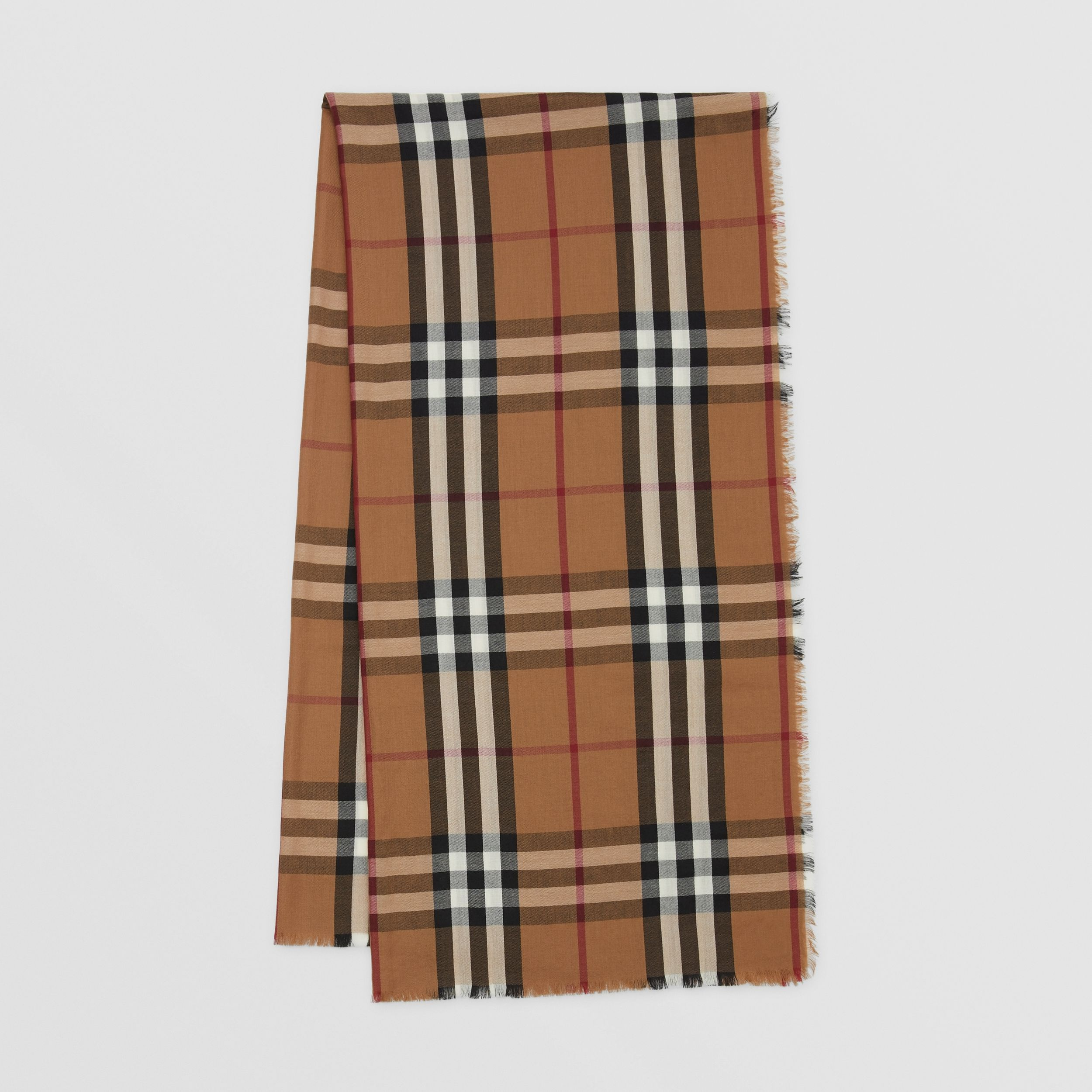 Check Lightweight Cashmere Scarf in Birch Brown | Burberry - 1