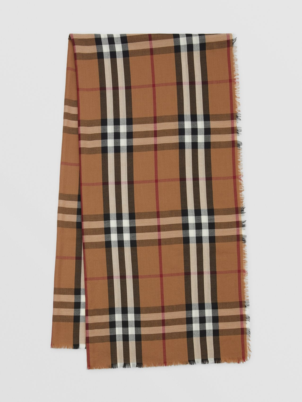 Check Lightweight Cashmere Scarf in Birch Brown