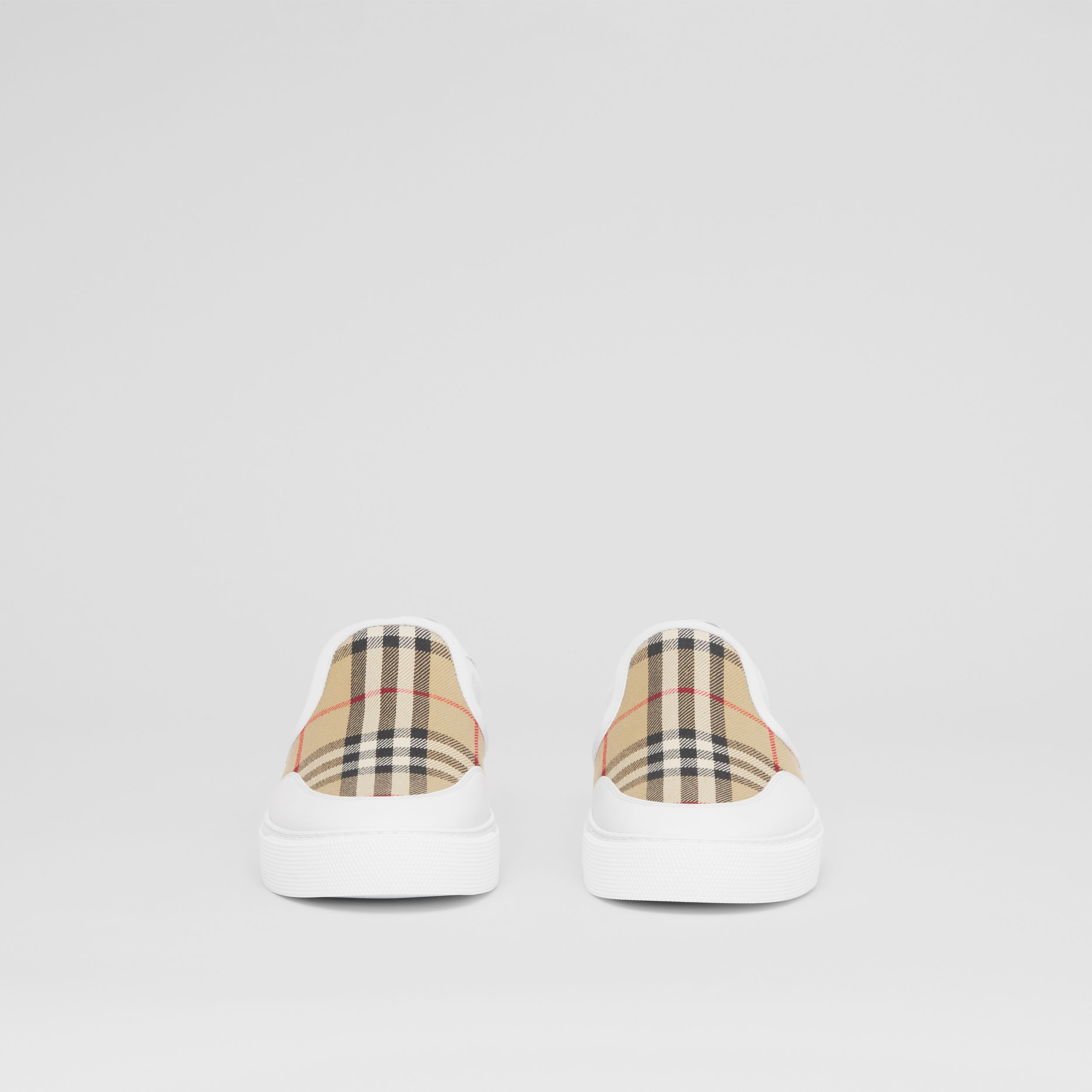 Leather and Vintage Check Slip-on Sneakers in White/archive Beige - Women | Burberry Singapore - 4