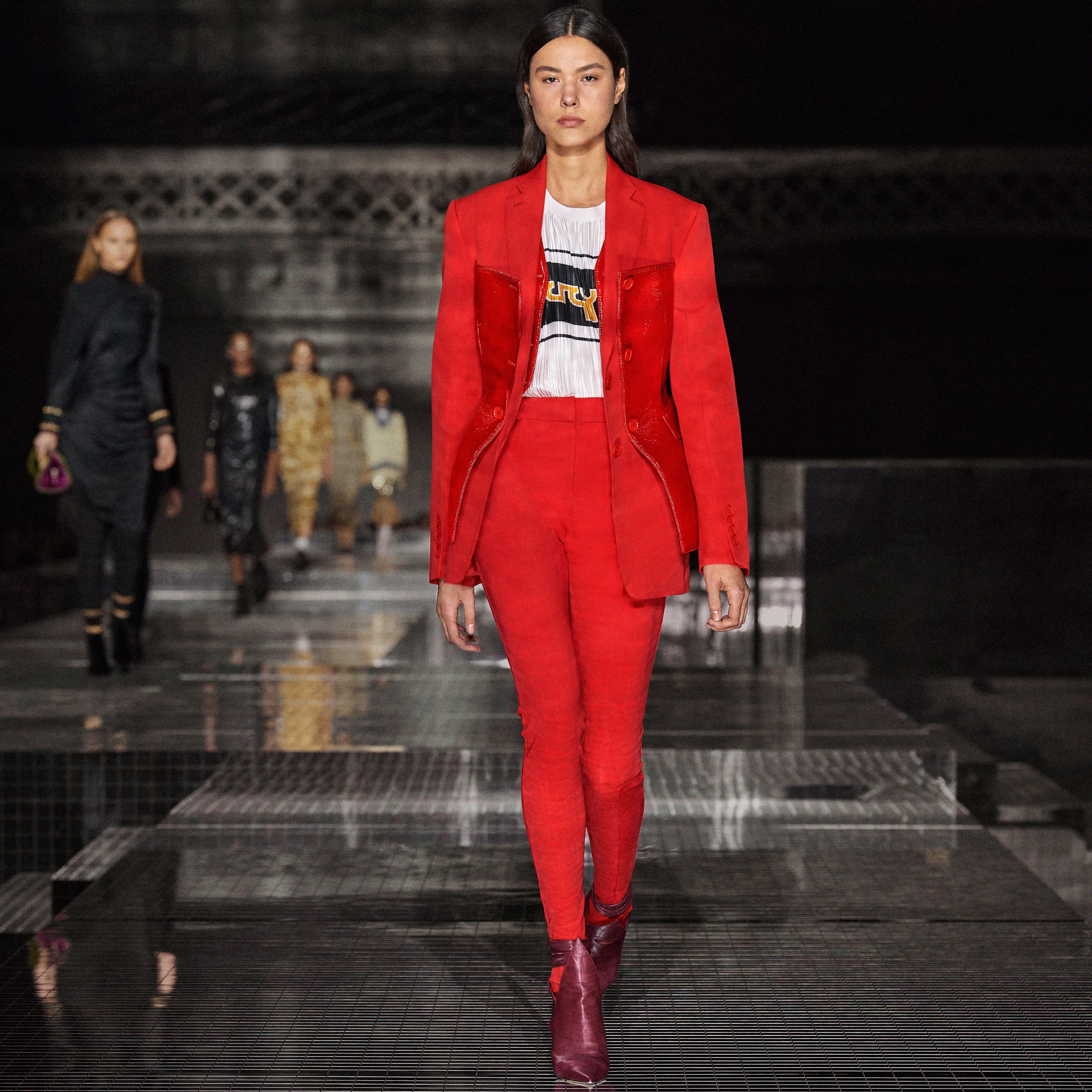 Vinyl Corset Detail Wool Tailored Jacket in Bright Red - Women | Burberry Hong Kong S.A.R. - 2