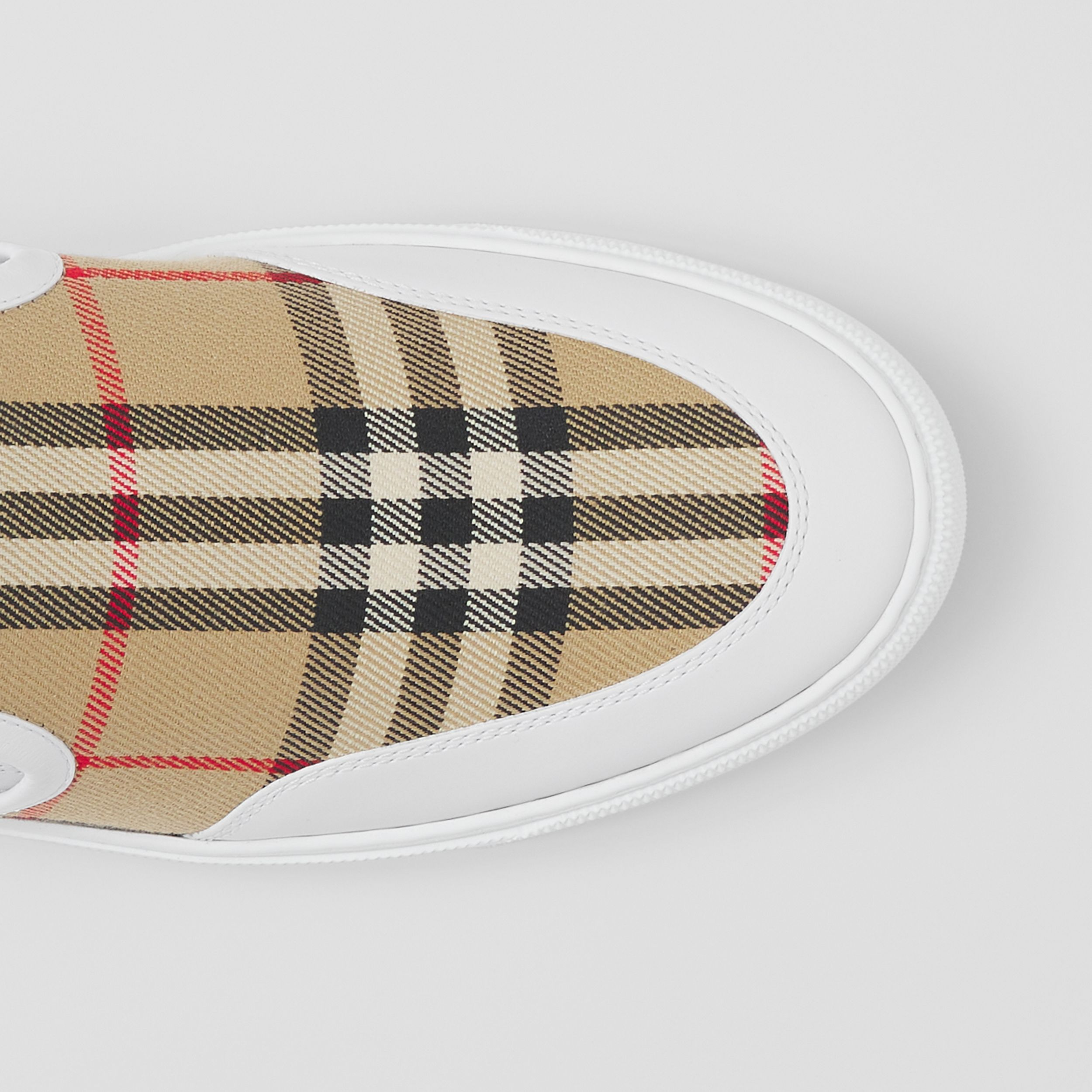 Leather and Vintage Check Slip-on Sneakers in White/archive Beige - Women | Burberry - 2