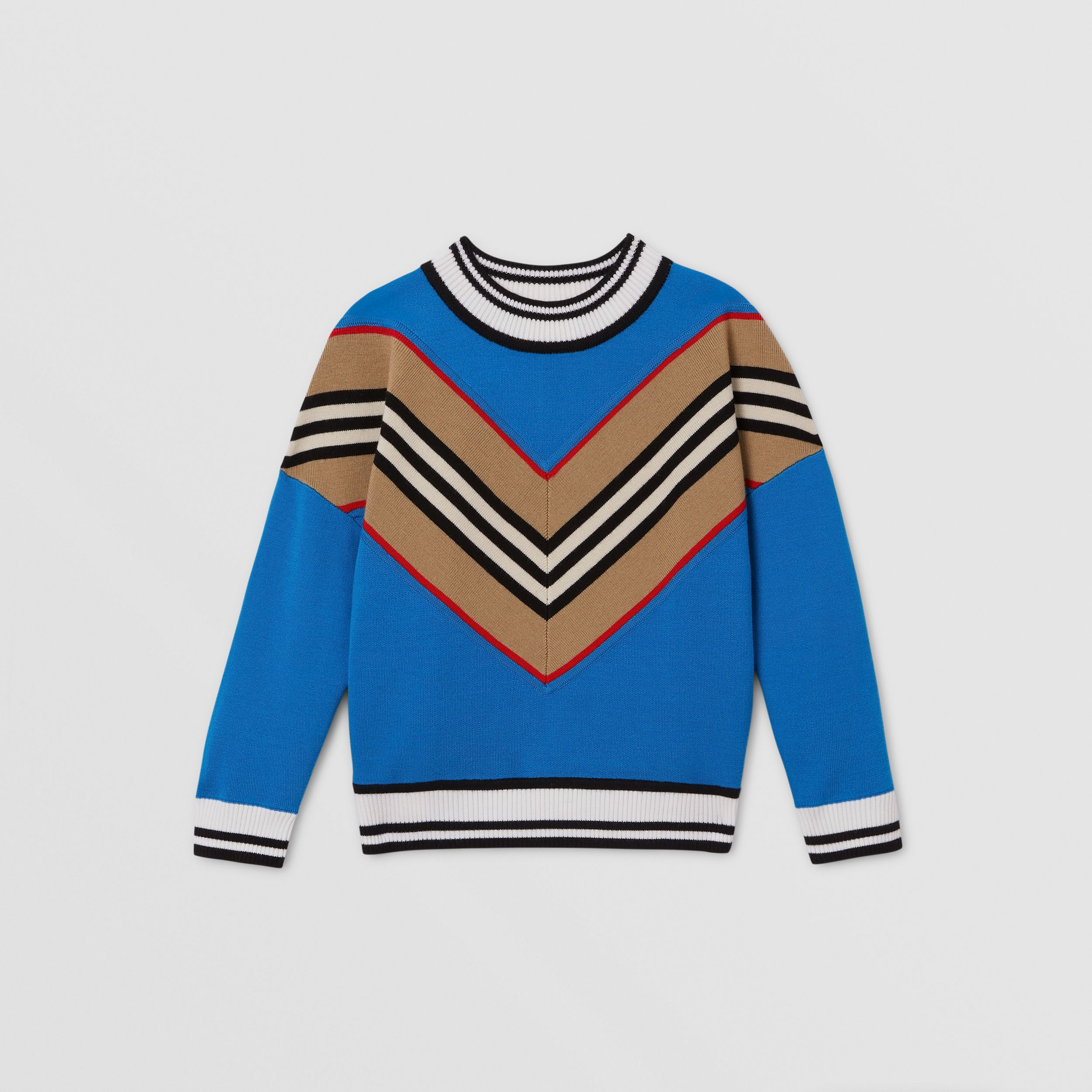 Icon Stripe Panel Wool Blend Sweater in Cerulean Blue | Burberry - 1