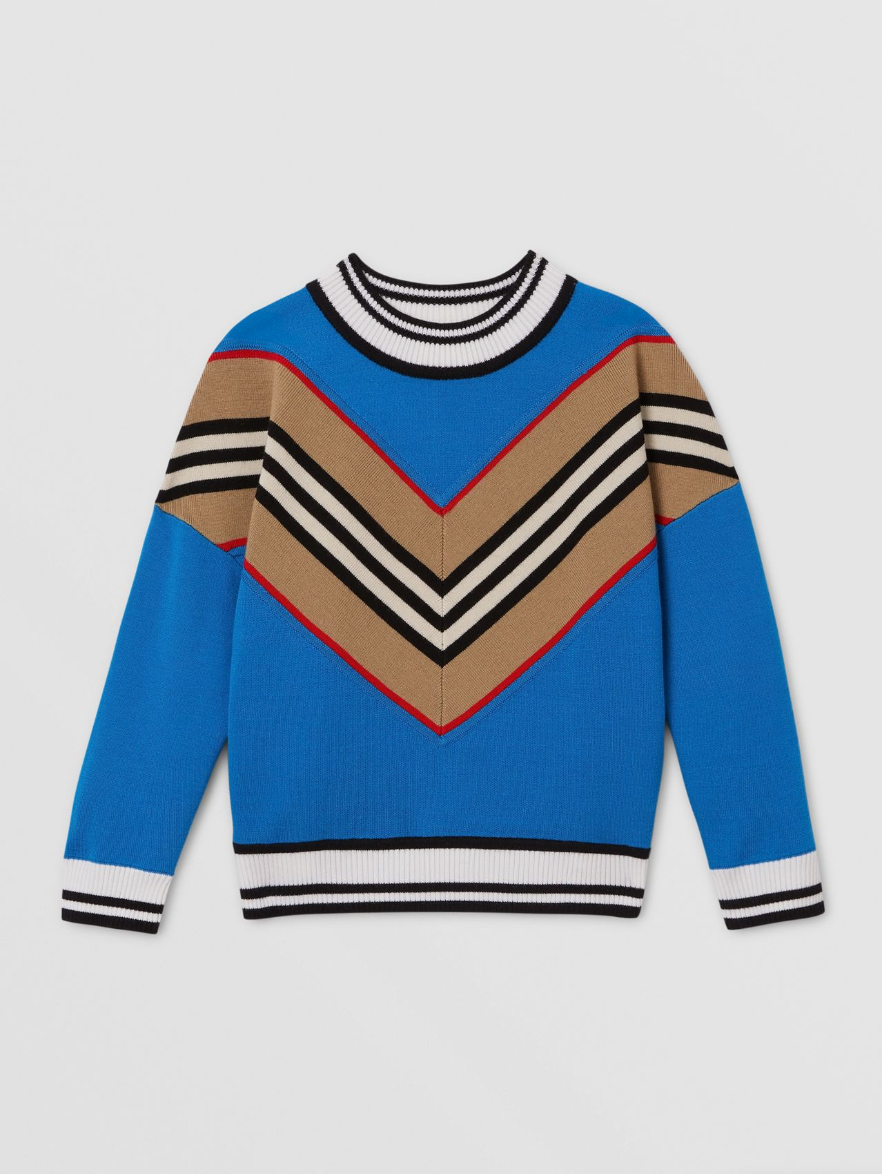 Icon Stripe Panel Wool Blend Sweater in Cerulean Blue