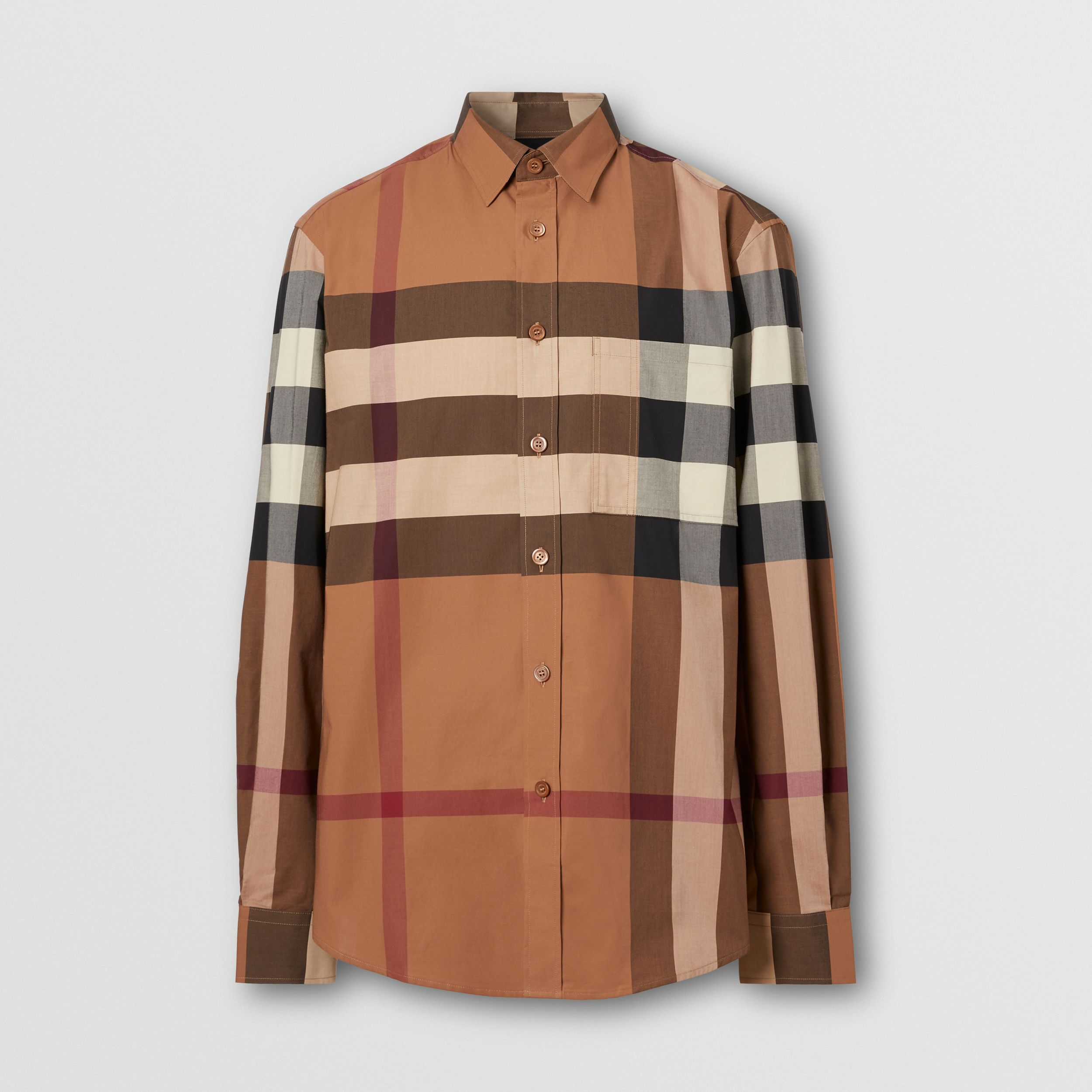 Check Stretch Cotton Poplin Shirt in Birch Brown - Men | Burberry - 4