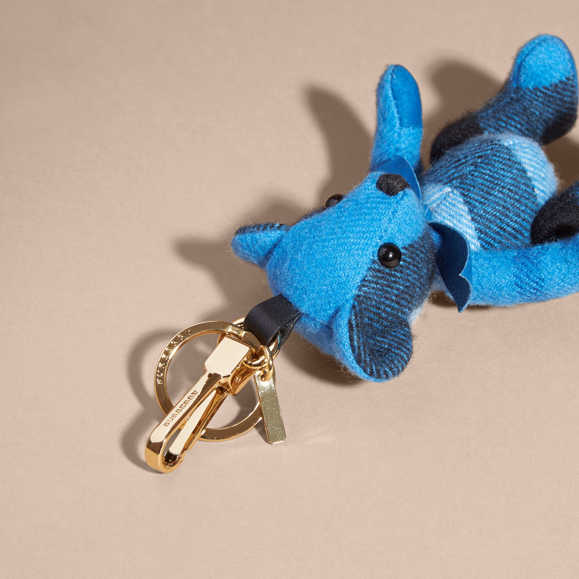 Bright cornflower blue Thomas Bear Charm in Check Cashmere Bright Cornflower Blue - gallery image 4