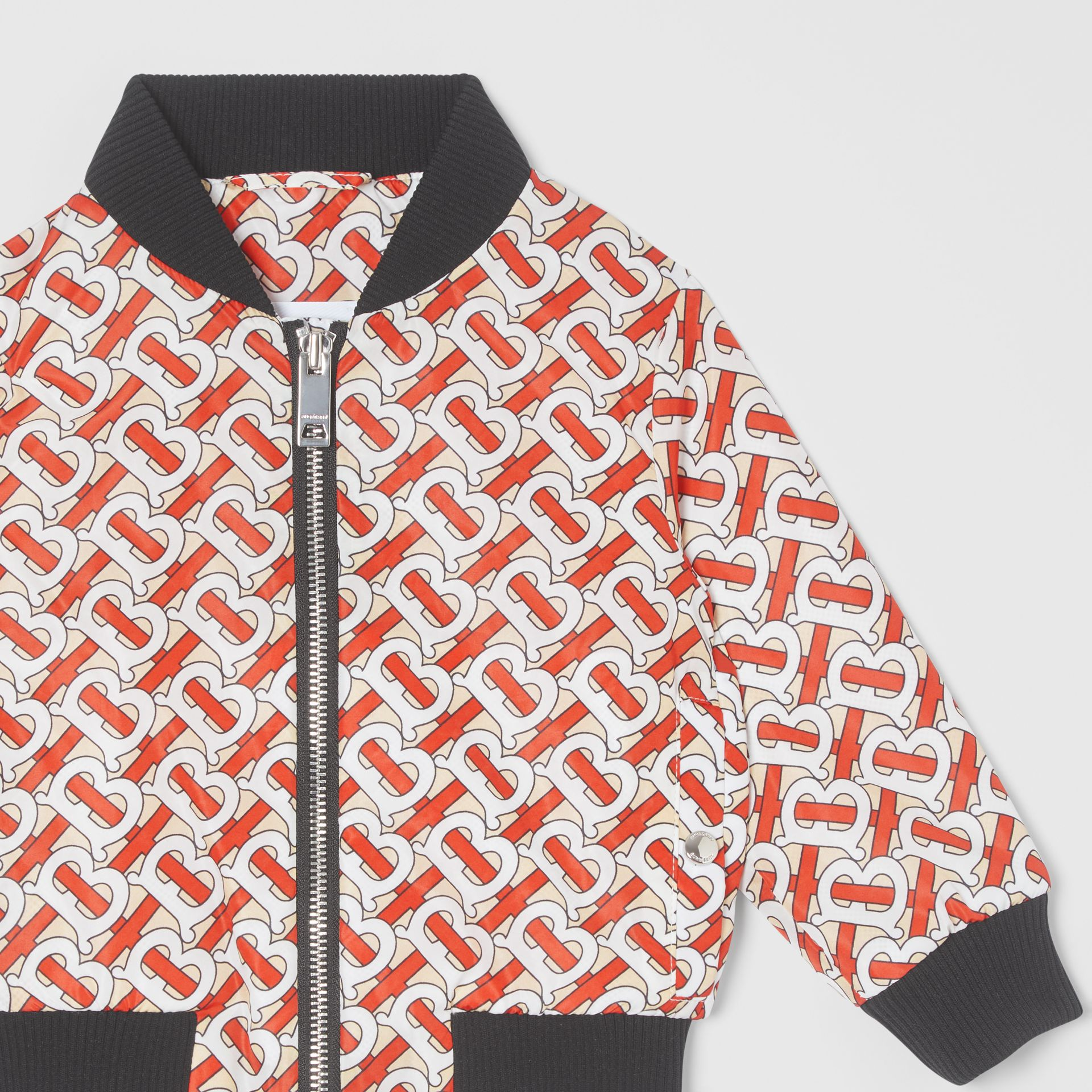 Monogram Print Nylon Bomber Jacket in Vermilion Red - Children | Burberry - gallery image 4