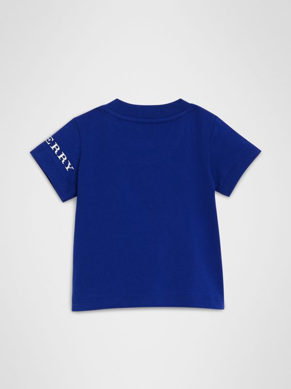 Logo Print Cotton T-shirt in Cobalt Blue - Children | Burberry United States - cell image 3