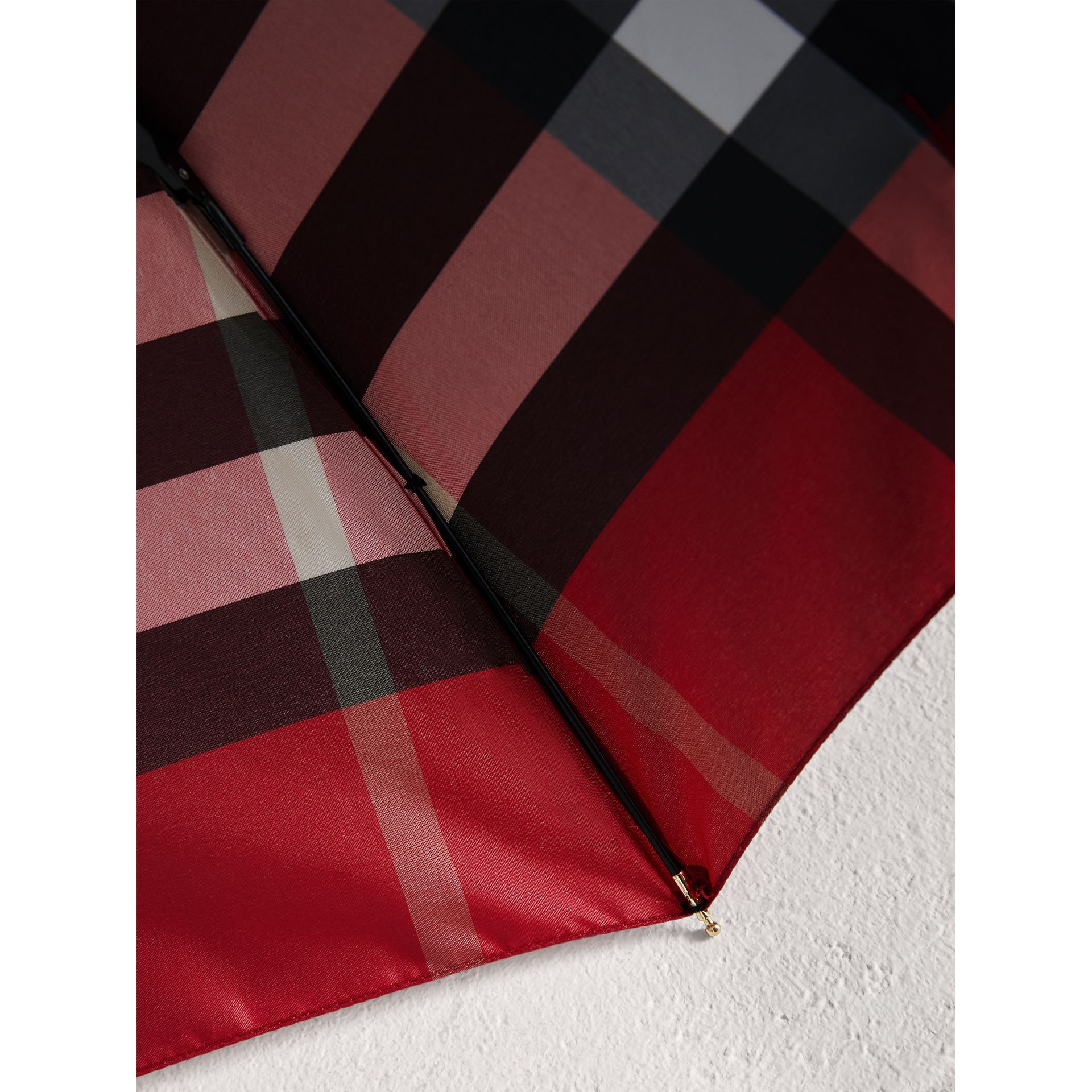 Check Folding Umbrella in Parade Red | Burberry - gallery image 2