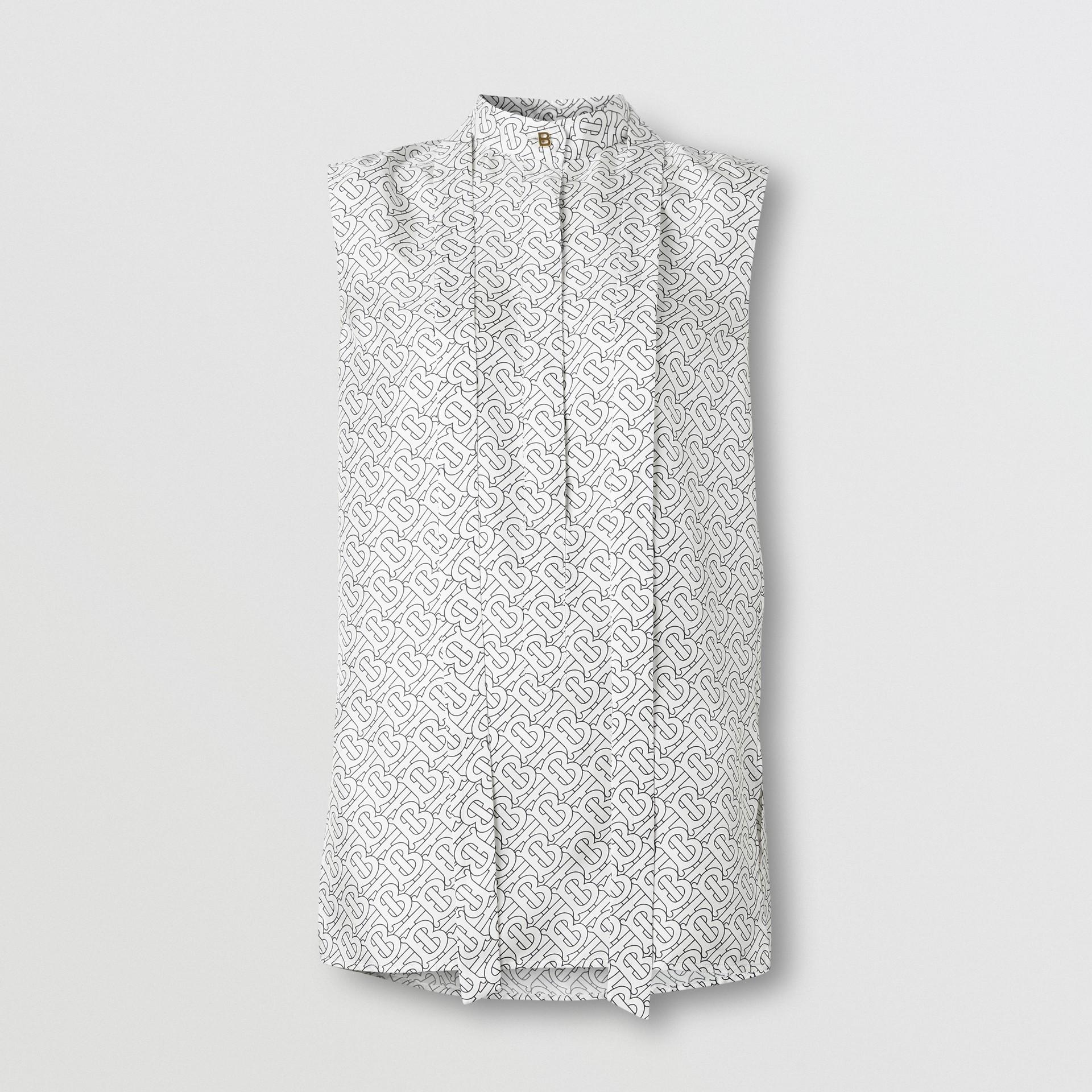 Sleeveless Monogram Print Silk Tie-neck Shirt in White - Women | Burberry - gallery image 3