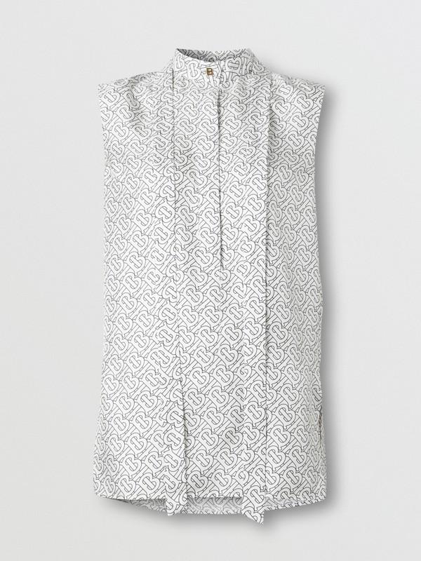 Sleeveless Monogram Print Silk Tie-neck Shirt in White - Women | Burberry - cell image 3