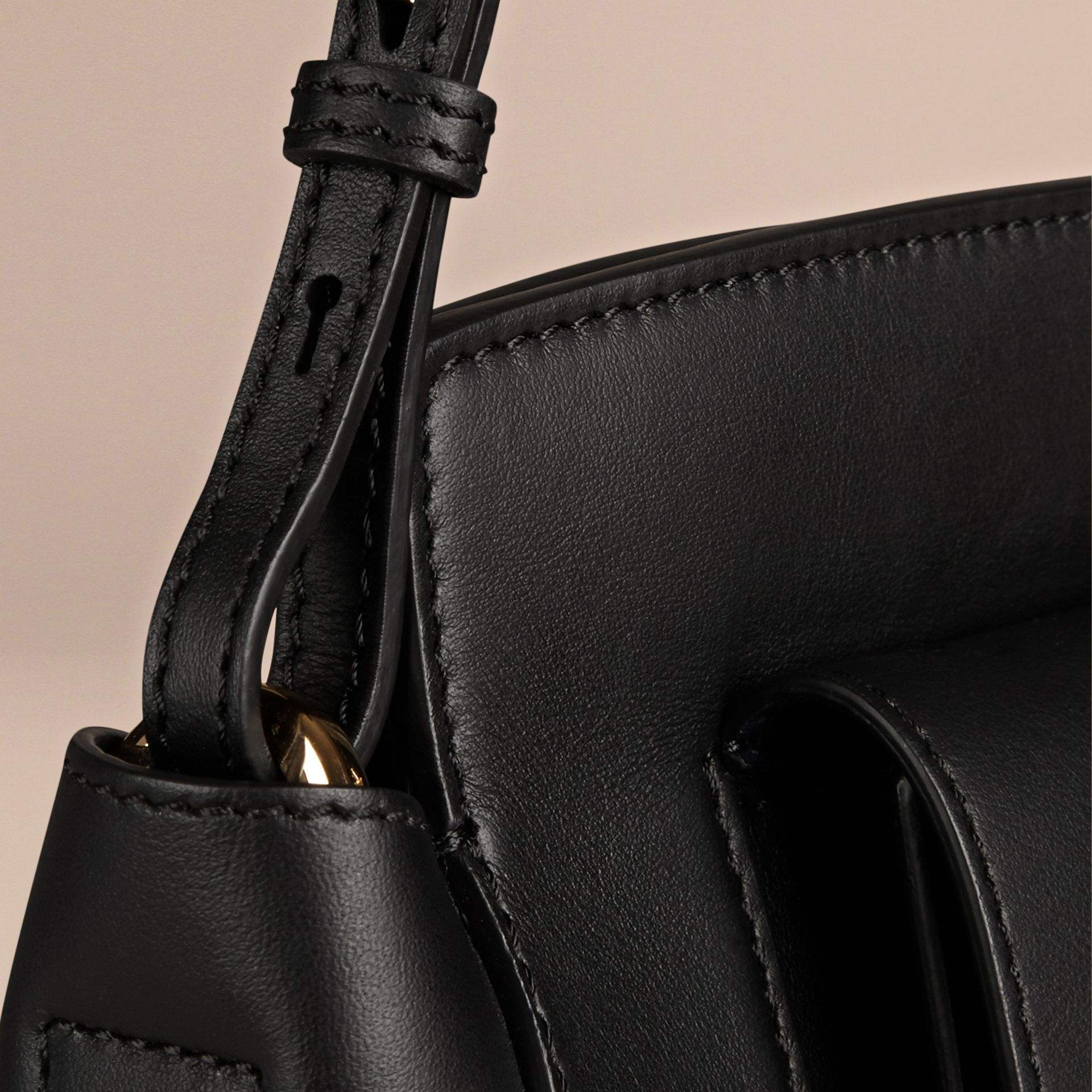 Black The Saddle Clutch in Bonded Leather - gallery image 6