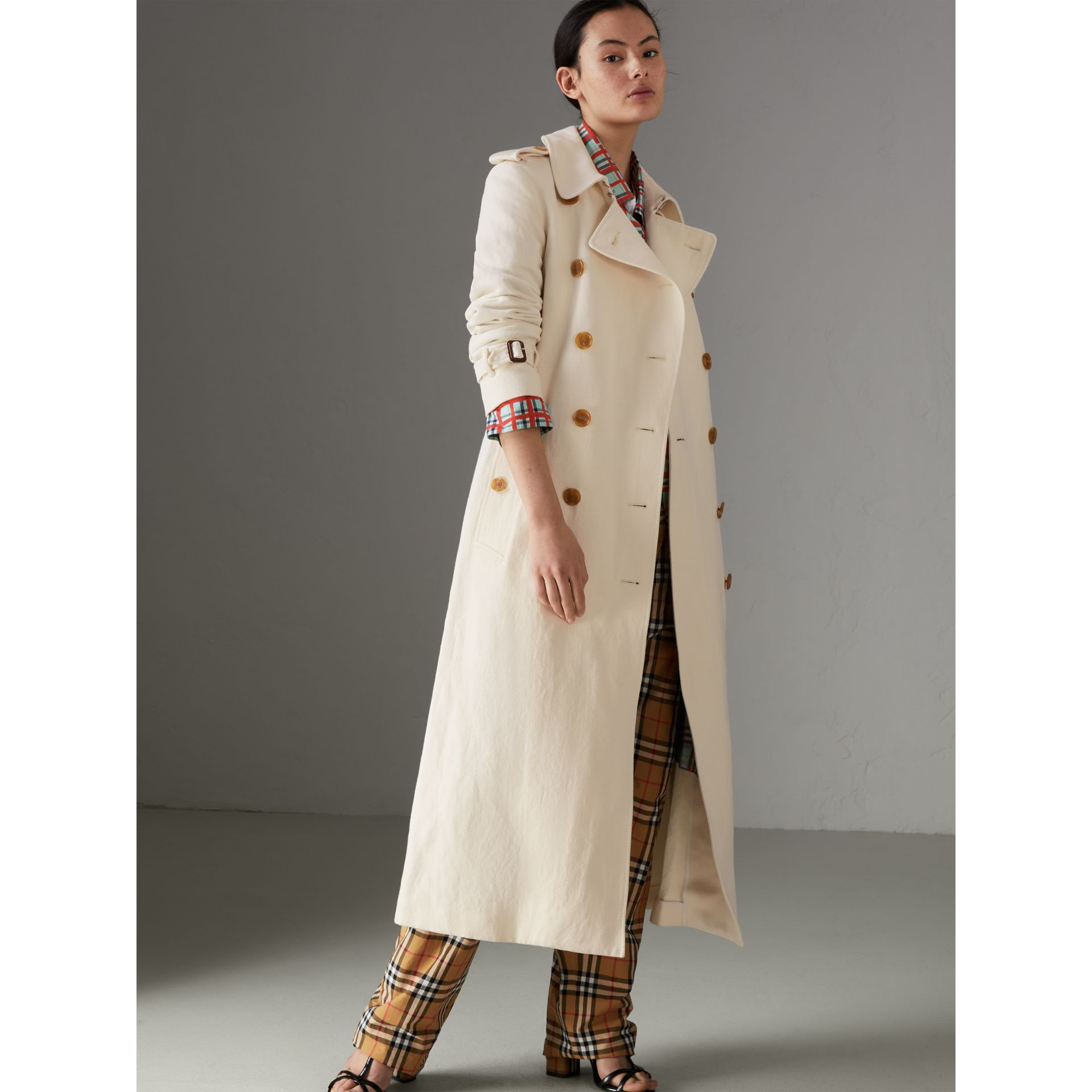 Cotton Linen Canvas Trench Coat in Off White - Women | Burberry - gallery image 5