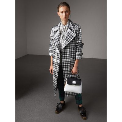 Small Two-tone leather and House Check tote - White Burberry GqQa9