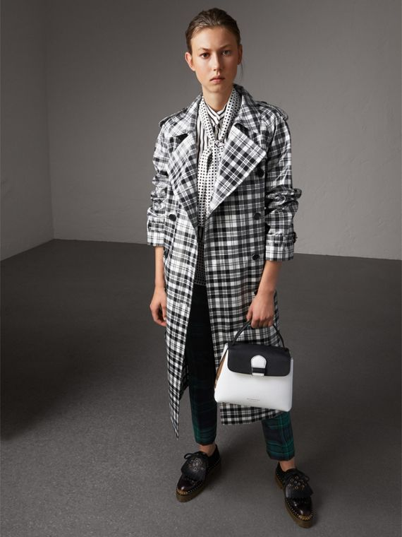 Small Two-tone Leather and House Check Tote in Chalk White/black - Women | Burberry - cell image 2